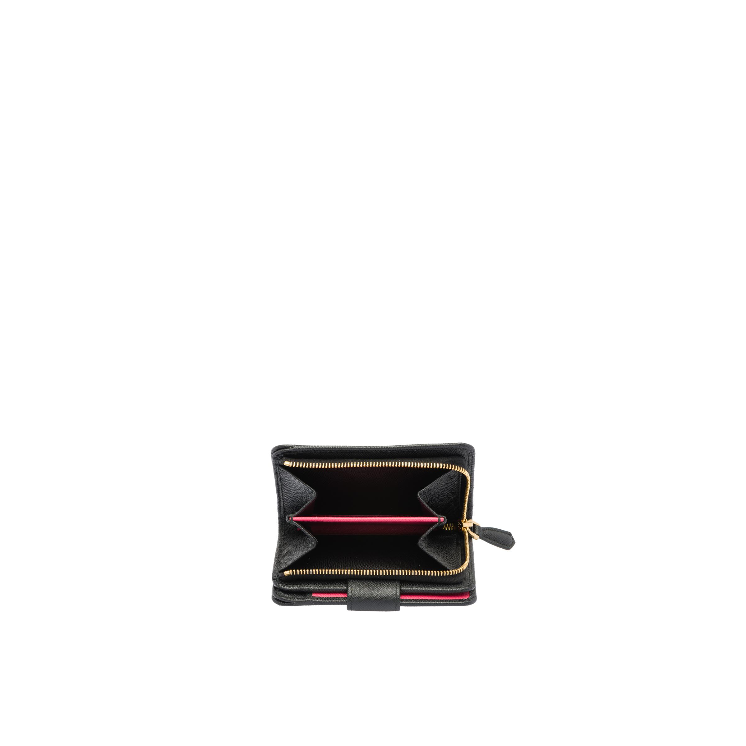 Small Saffiano Leather Wallet Women Black/hibiscus 1