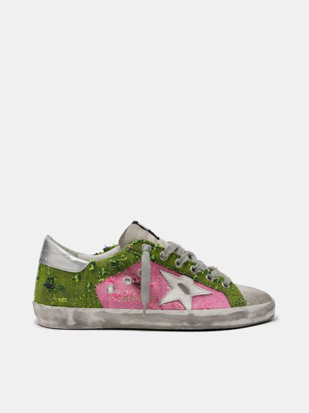 Super-Star sneakers in green and pink canvas