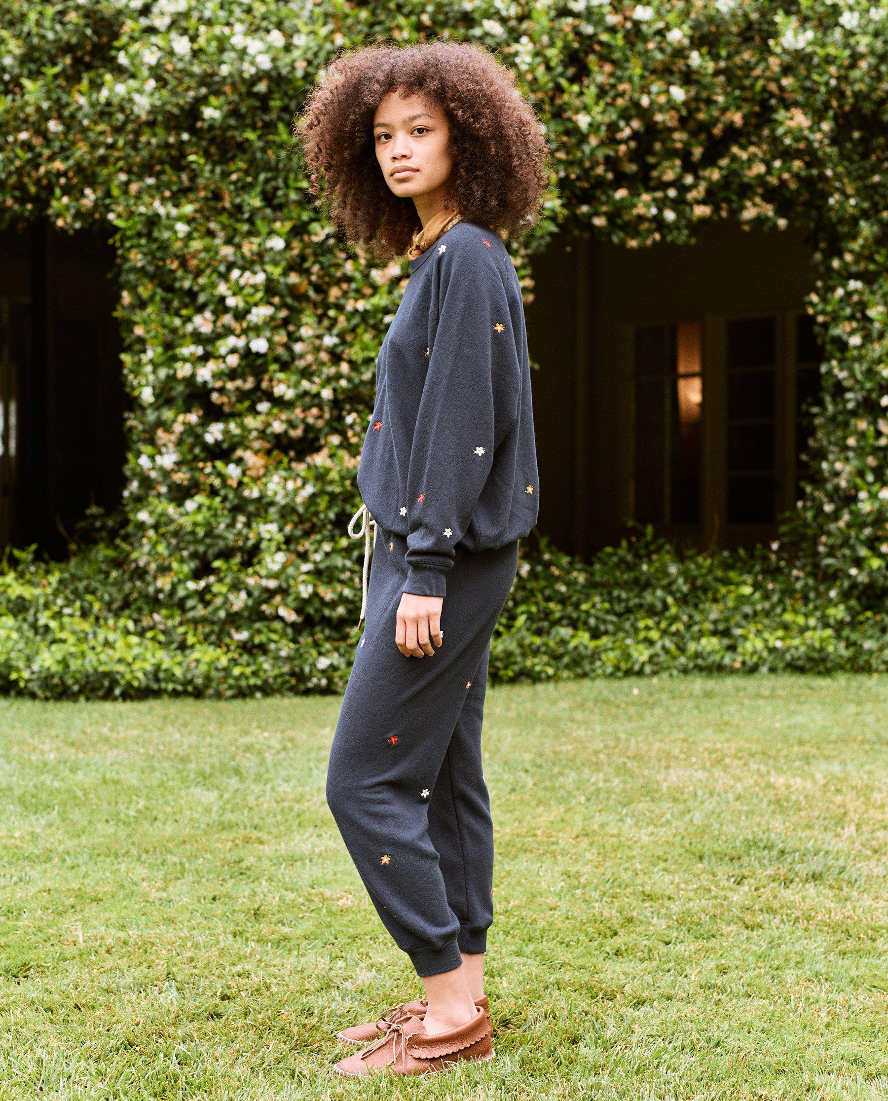 The Cropped Sweatpant. Embroidered -- Navy with Seed Floral Embroidery 1