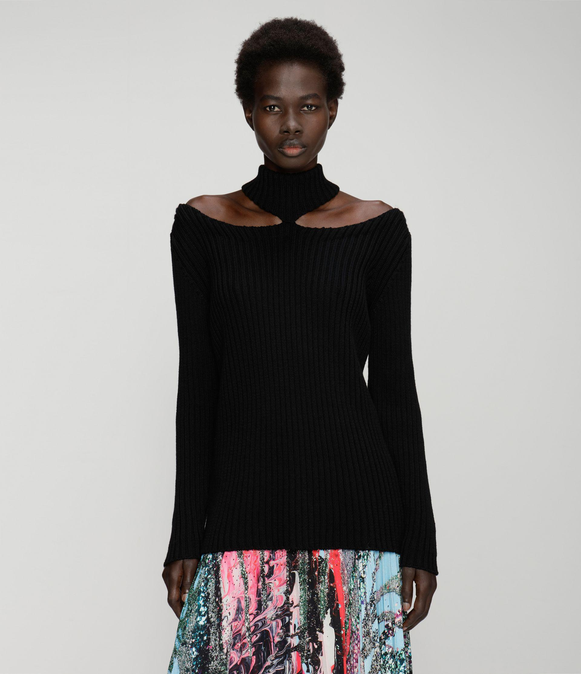 cut-out shoulder knitted sweater