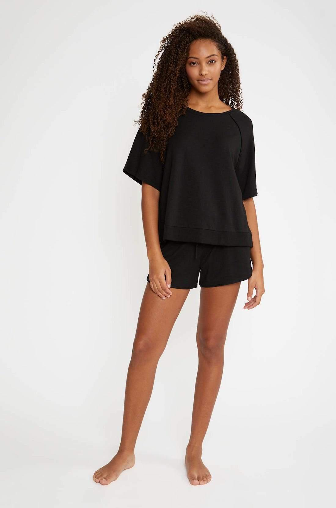 Blair French Terry Short Sleeve Top - Black
