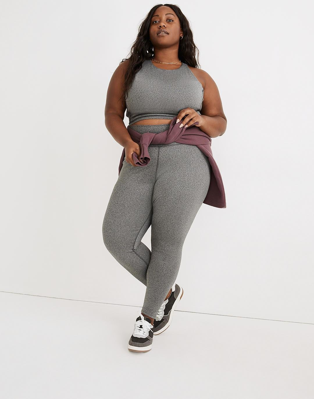 """Plus Curvy MWL Form High-Rise 28"""" Leggings in Heathered Charcoal"""