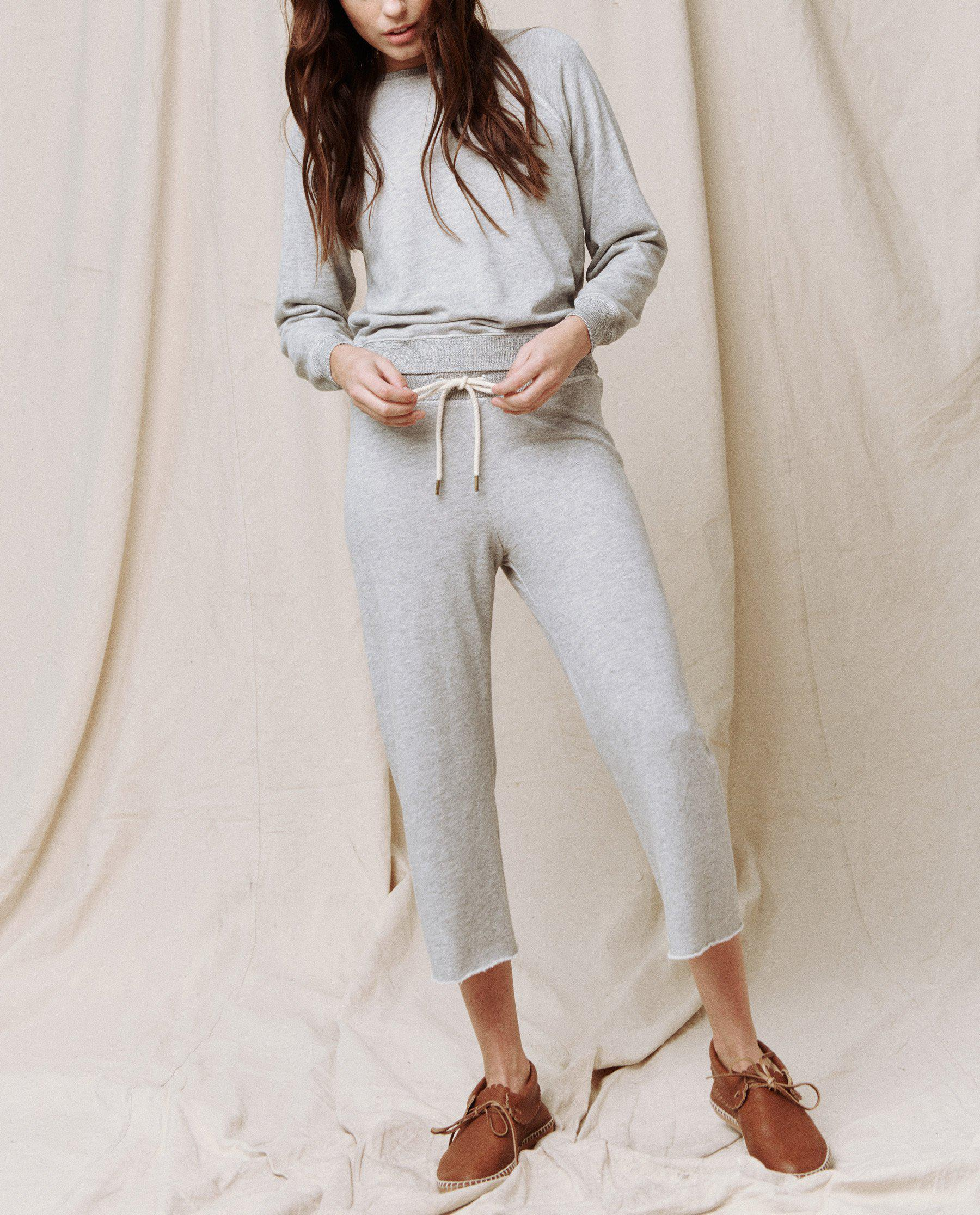 The Wide Leg Cropped Sweatpant. -- LIGHT HEATHER GREY