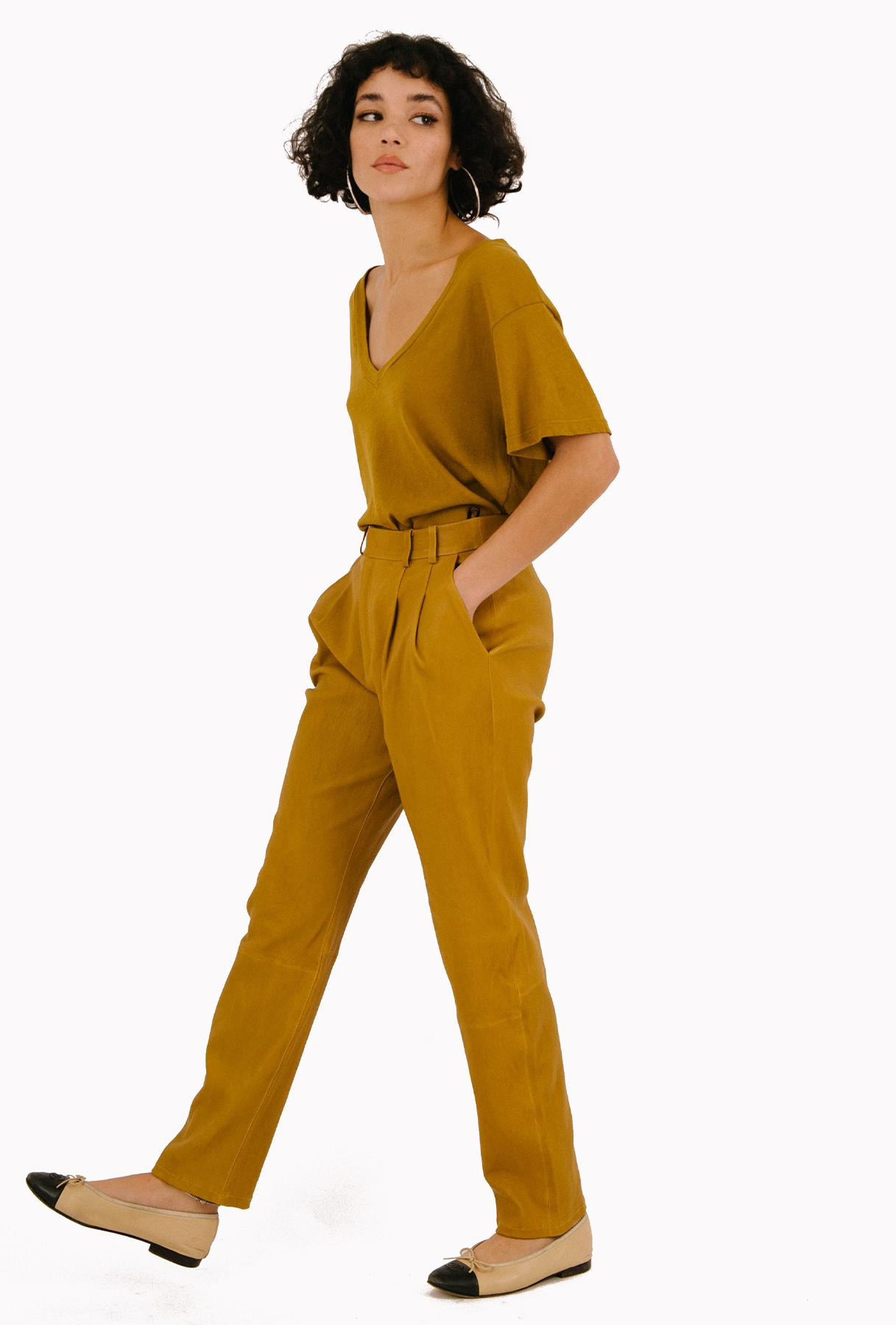 Sand Leather Tailored Trouser
