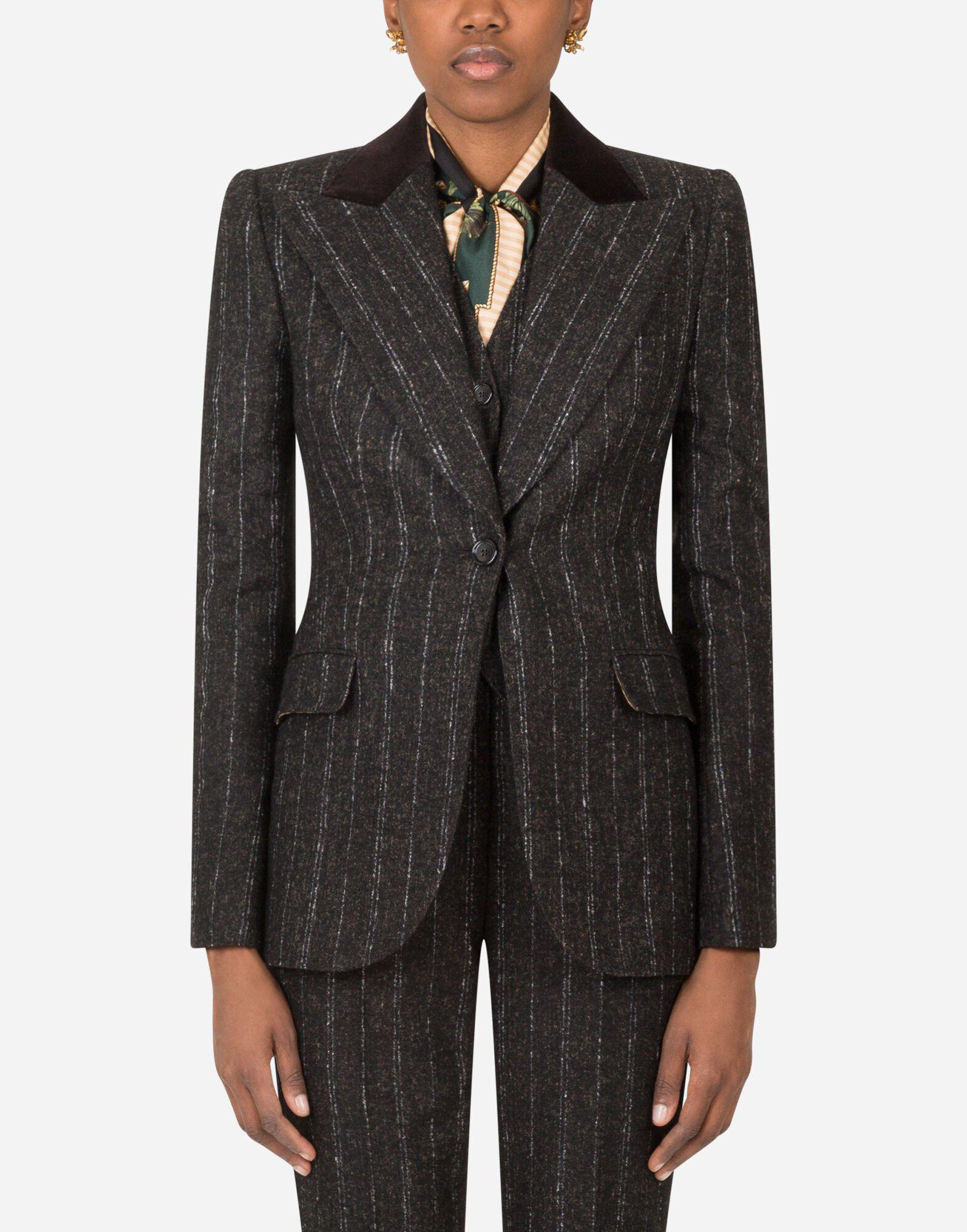Single-breasted jacket in pinstripe wool with velvet collar