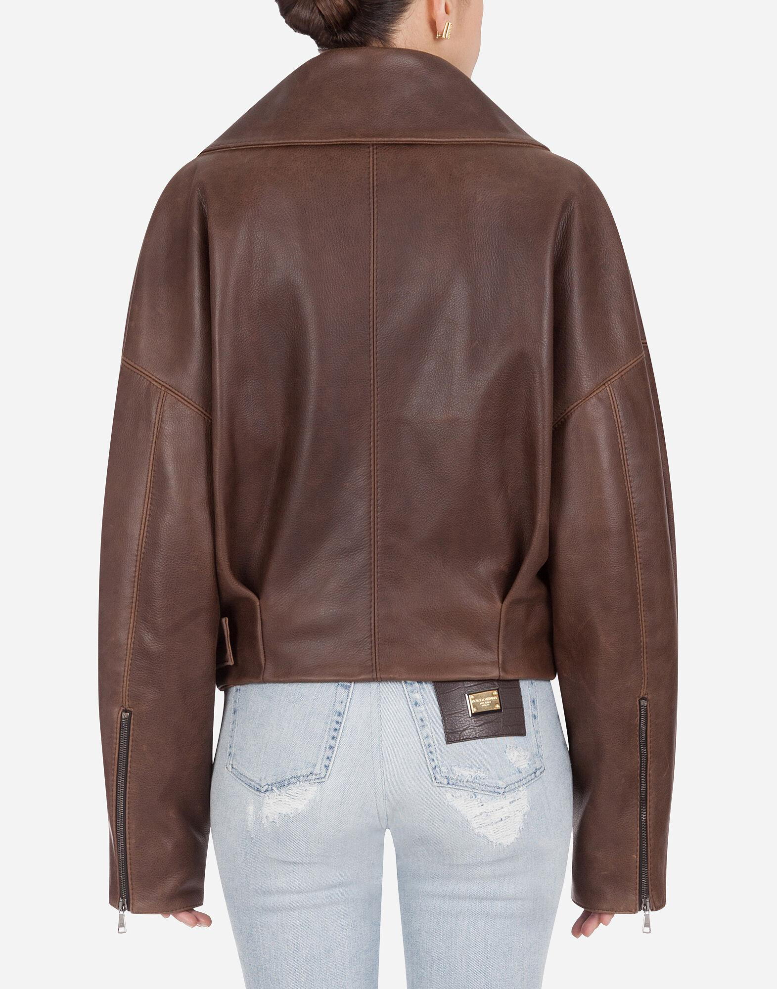 Jacket in hammered leather