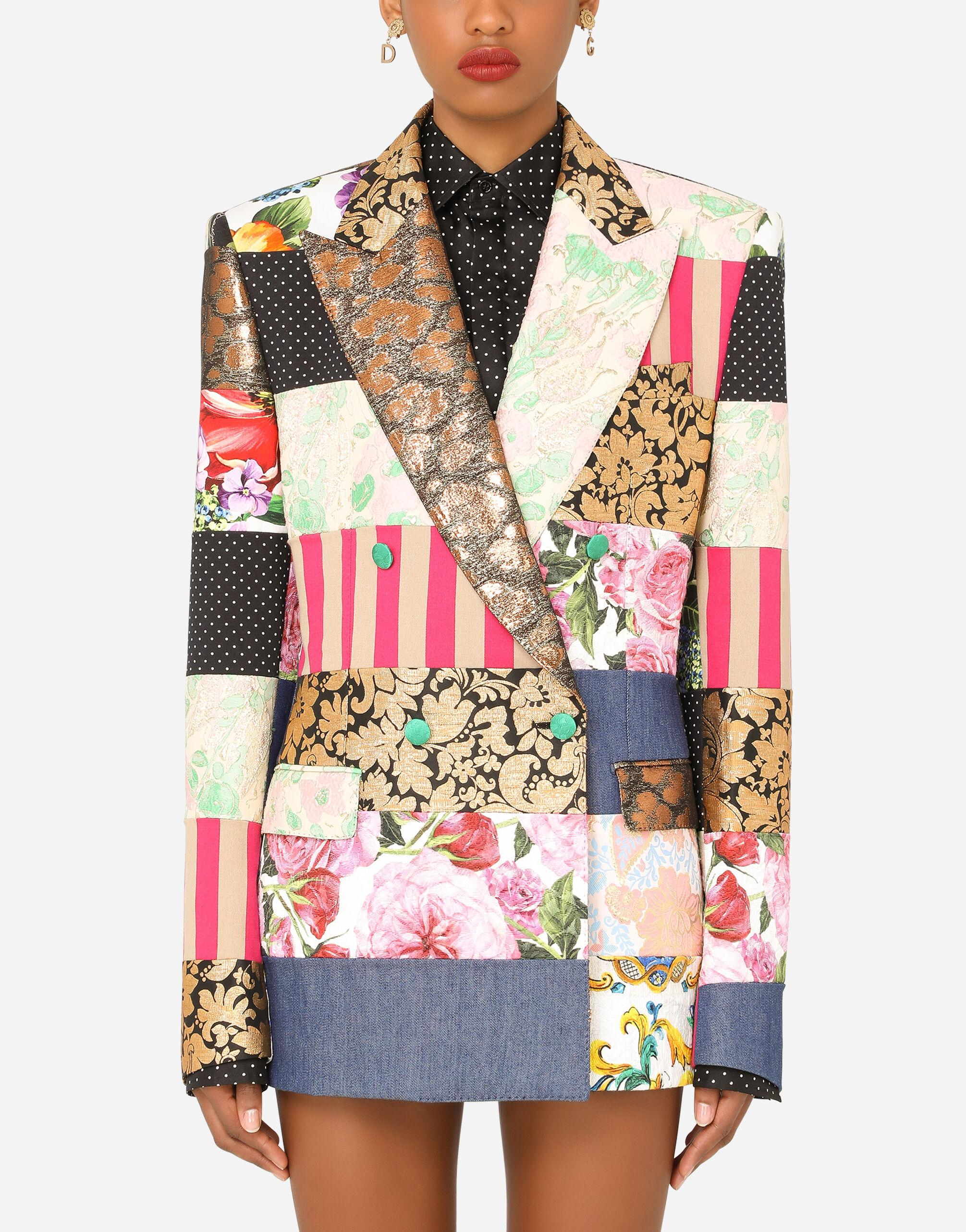 Masculine double-breasted patchwork jacquard blazer