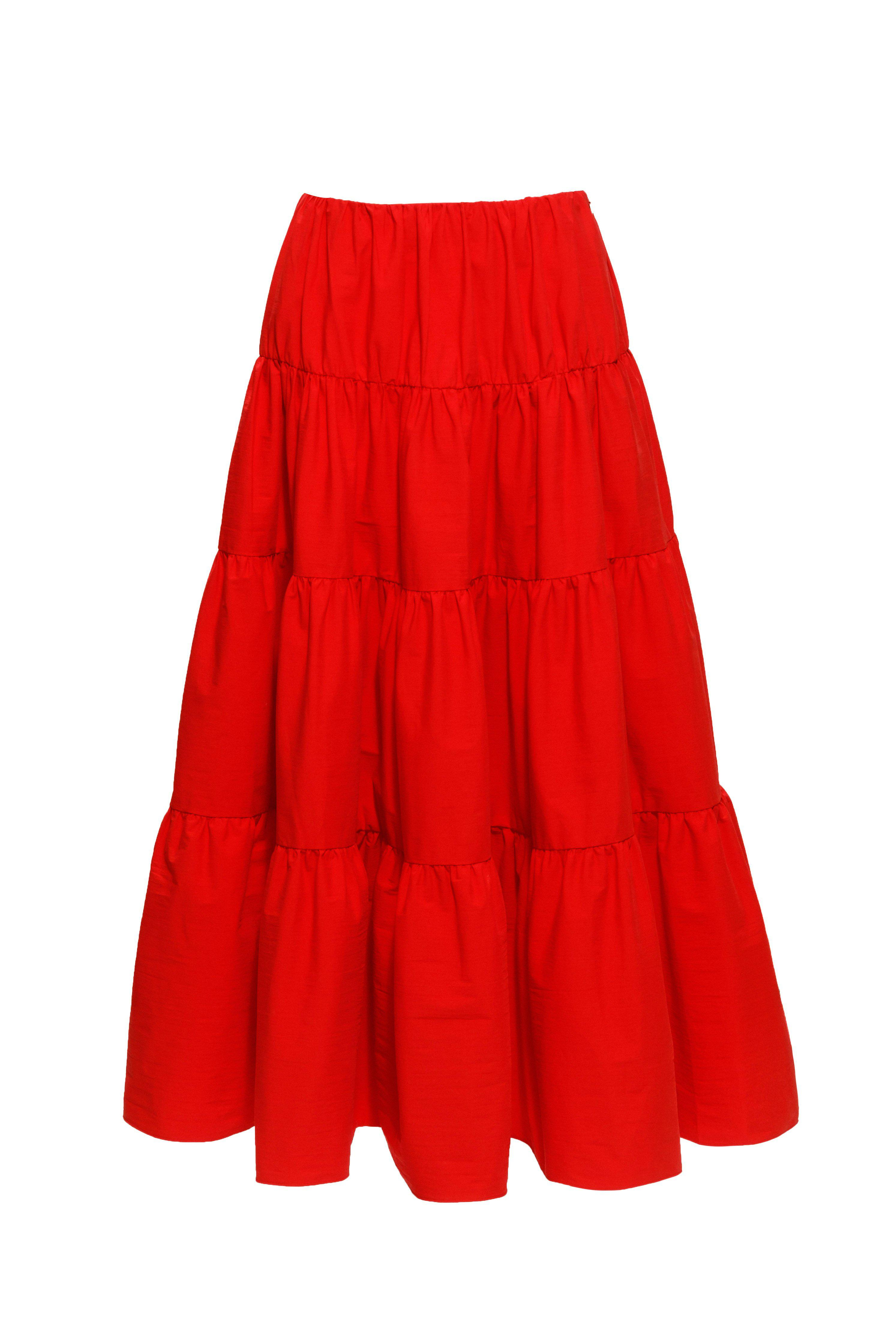 Multi Tiered Swing Skirt (Red)