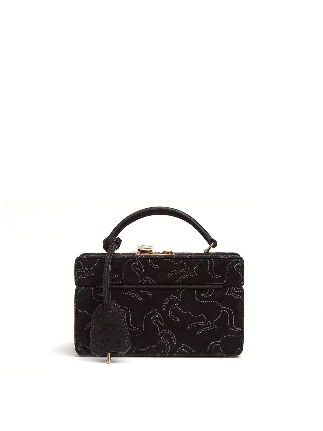 1845 Embroidered Suede Mini Trunk