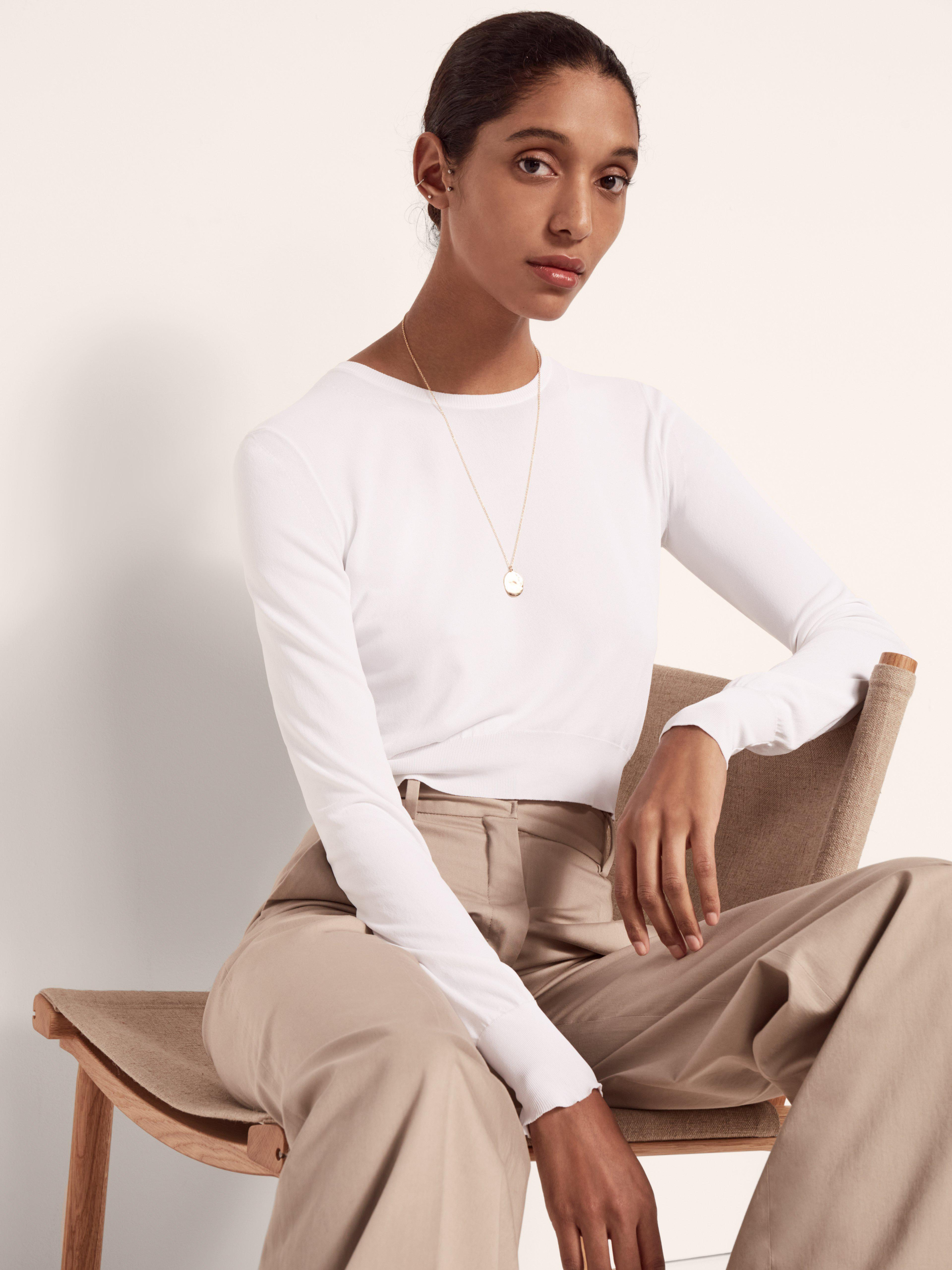 CROPPED CREW NECK KNIT