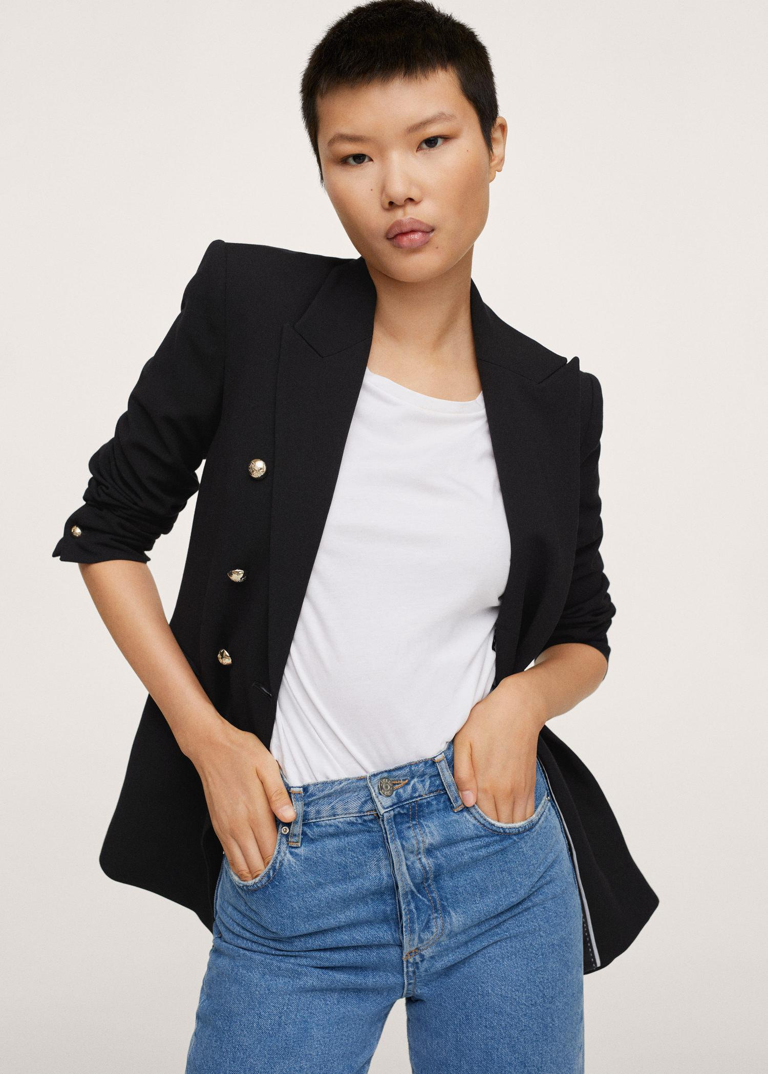 Double-breasted blazer with buttons