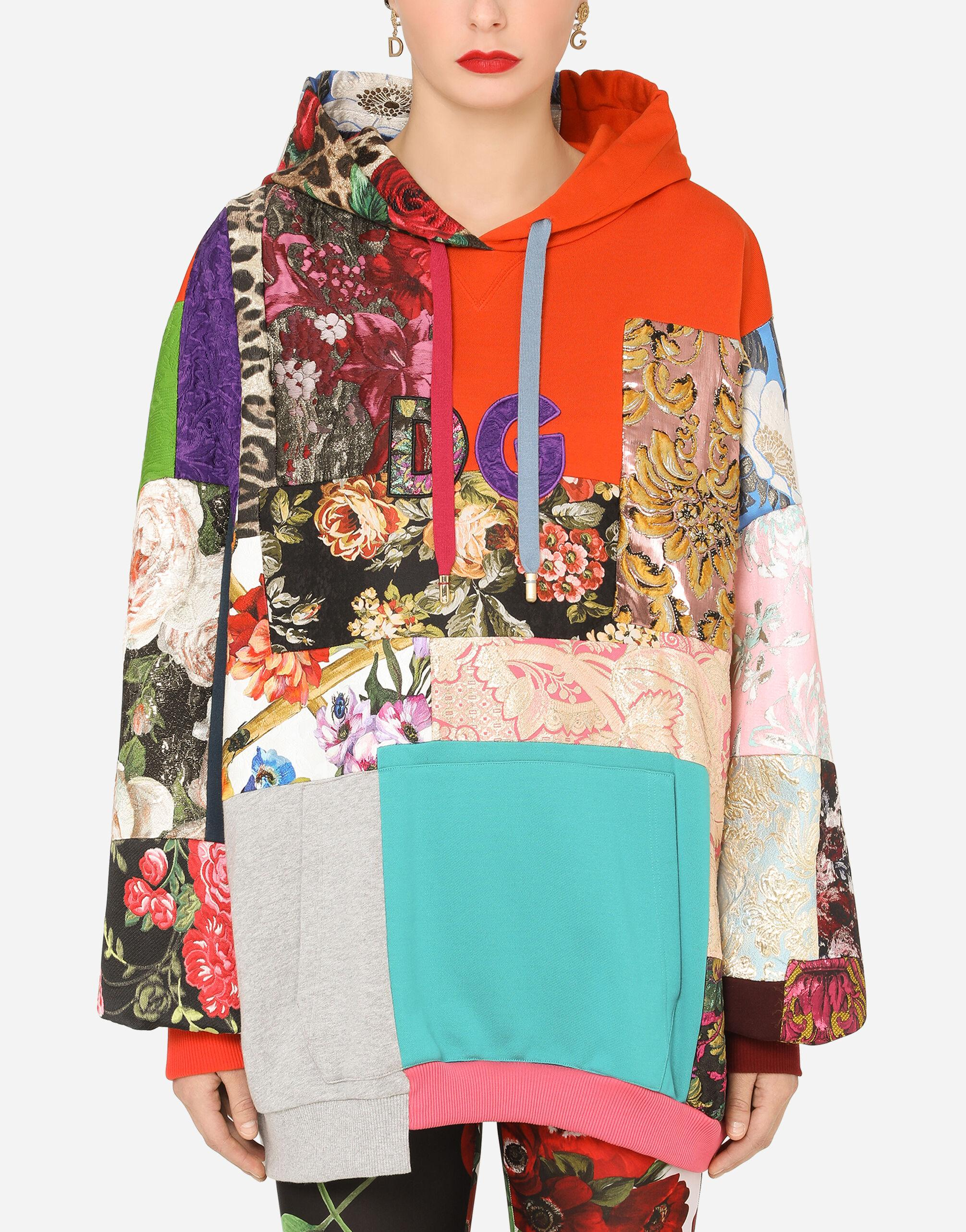 Patchwork jersey hoodie with DG embroidery