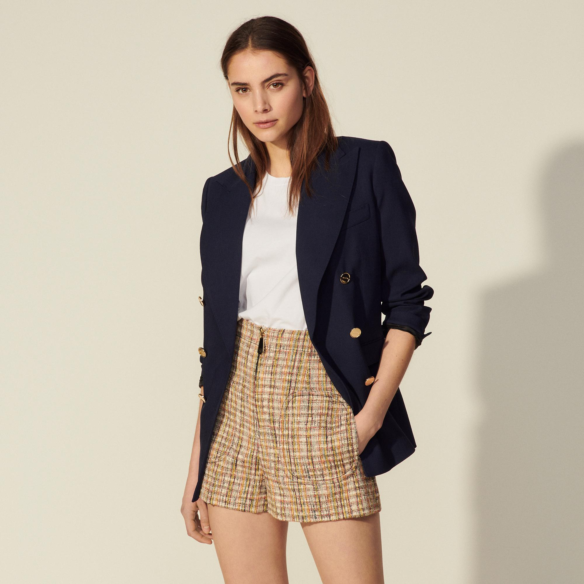 Tweed shorts with zip at the front