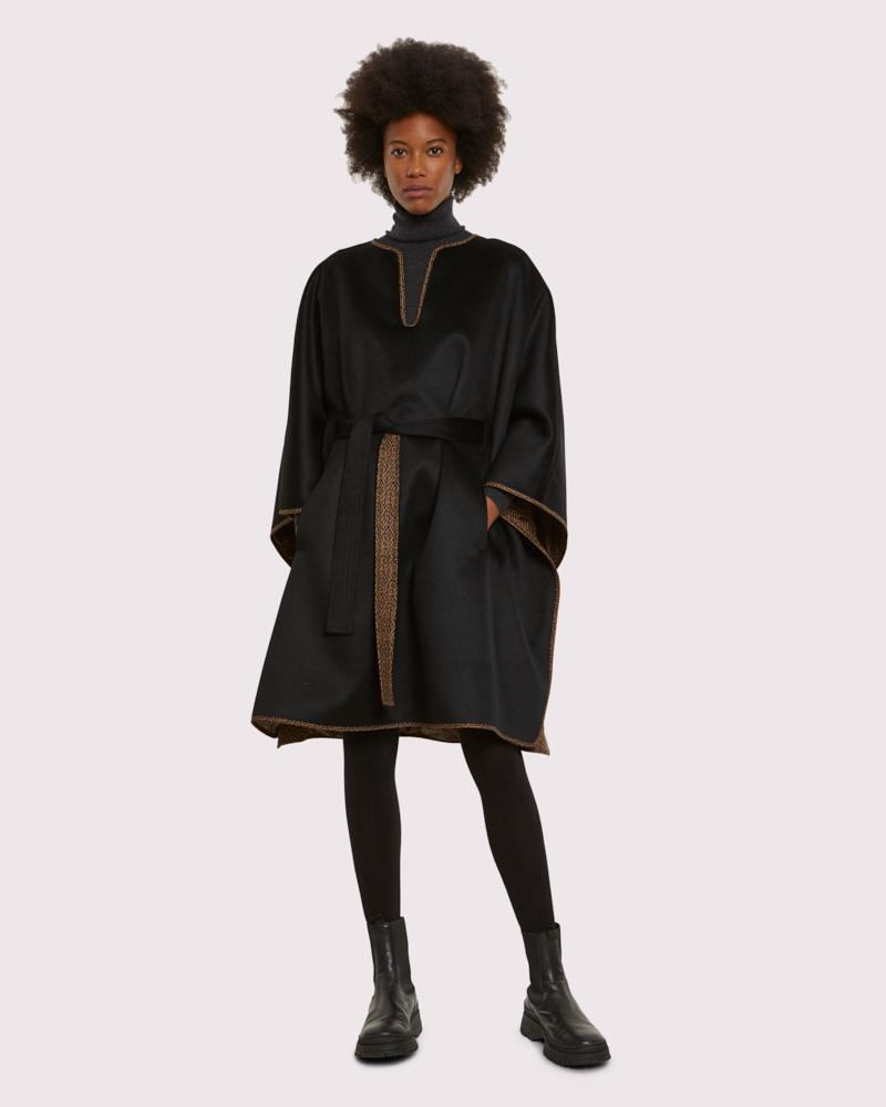 YS nylon reversible cashmere wool belted cape