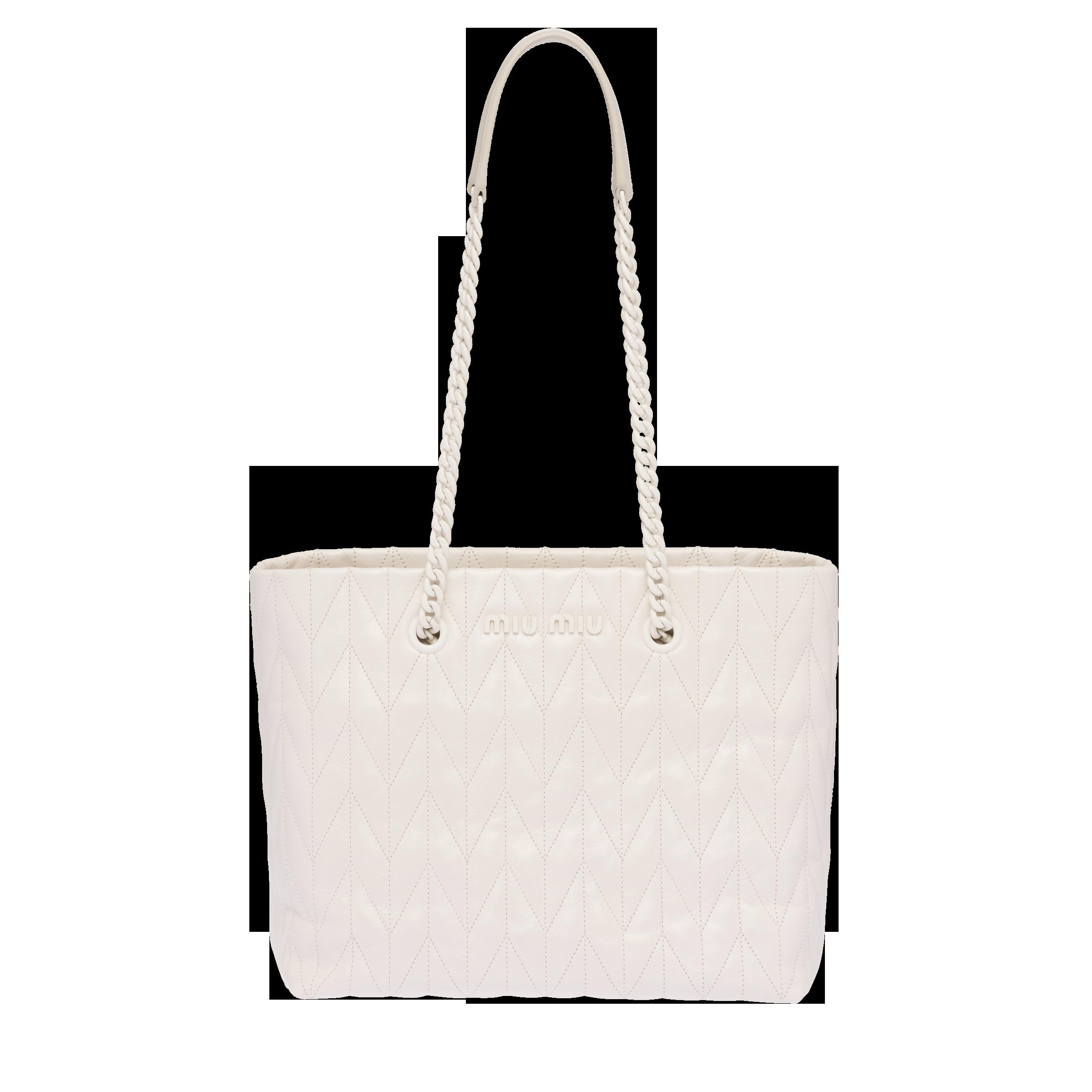 Quilted Shiny Leather Tote Bag Women Chalk White