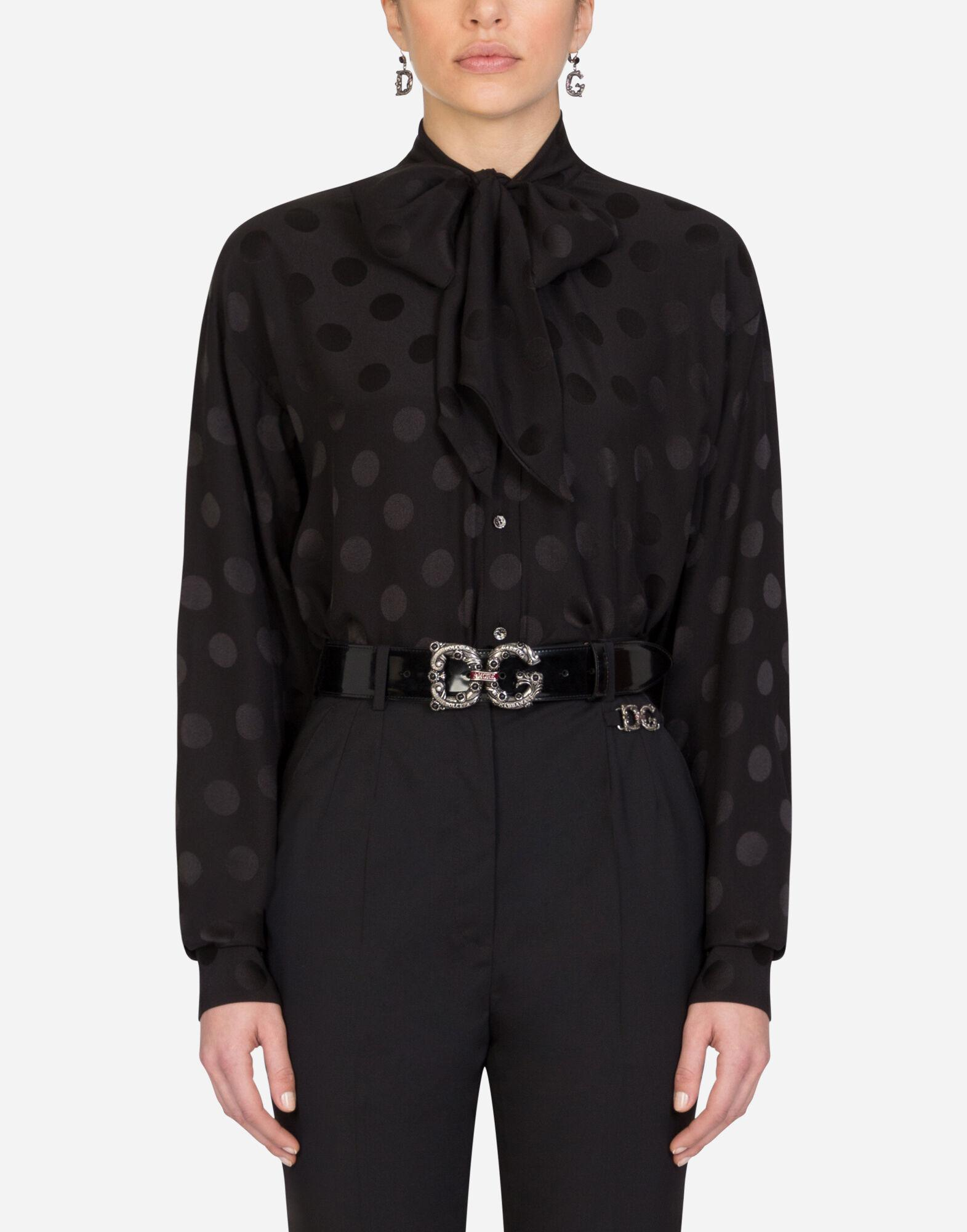 Satin jacquard shirt with pussy bow