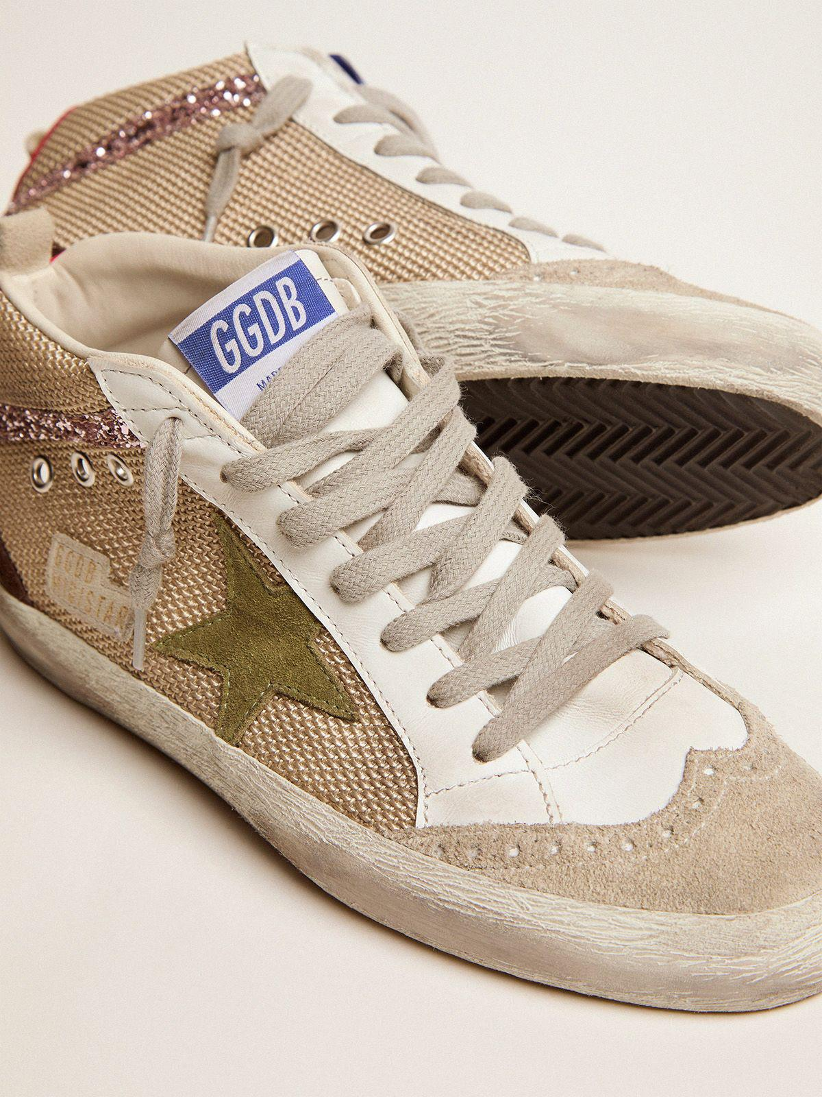 Mid Star sneakers in cream-colored mesh with suede and glitter details 2