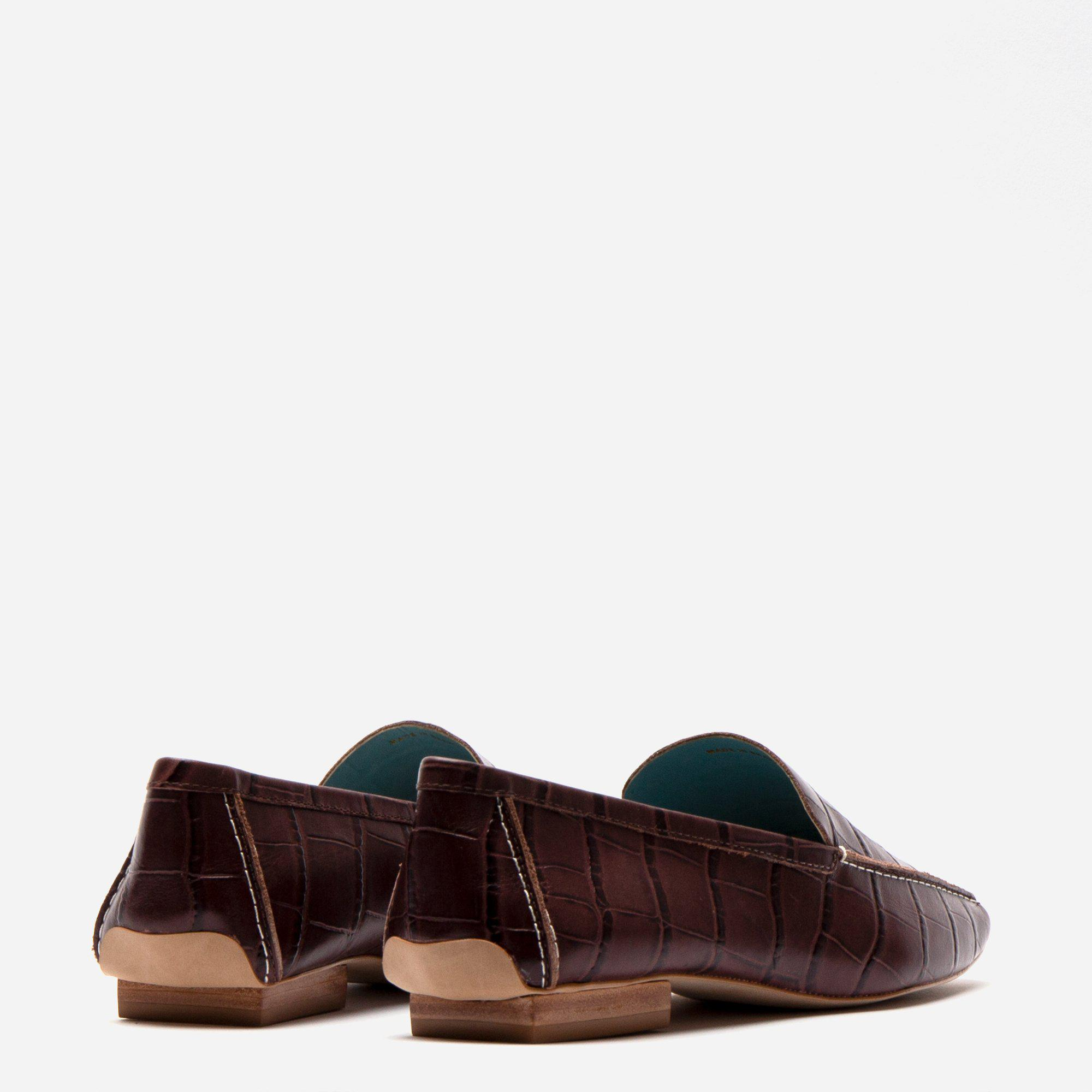Elyce Loafer Croc Embossed Chocolate 3