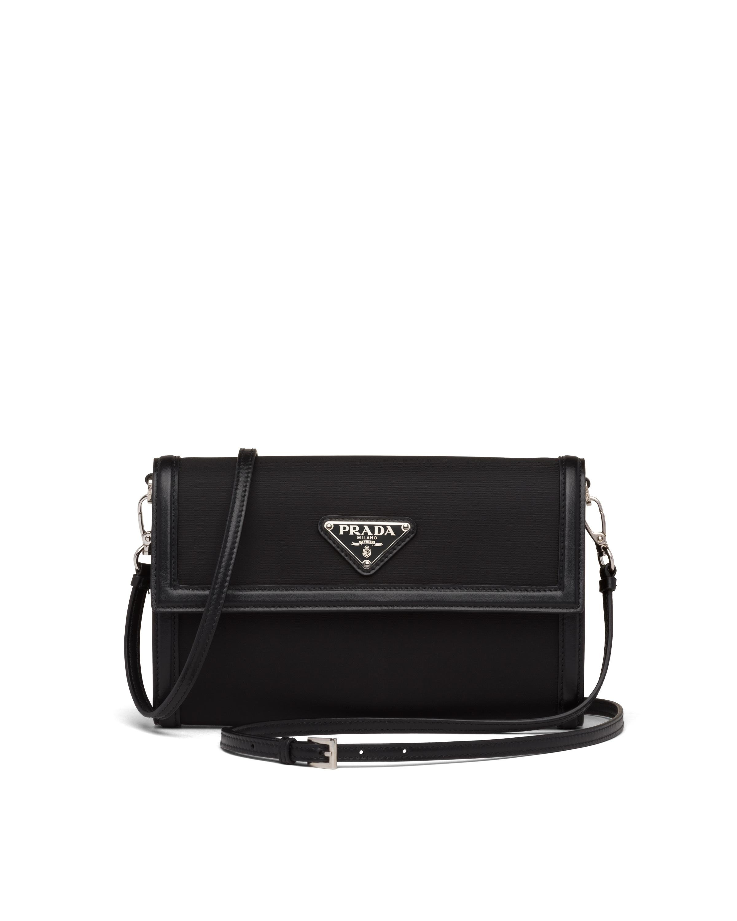 Nylon And Leather Wallet With Shoulder Strap Women Black 5