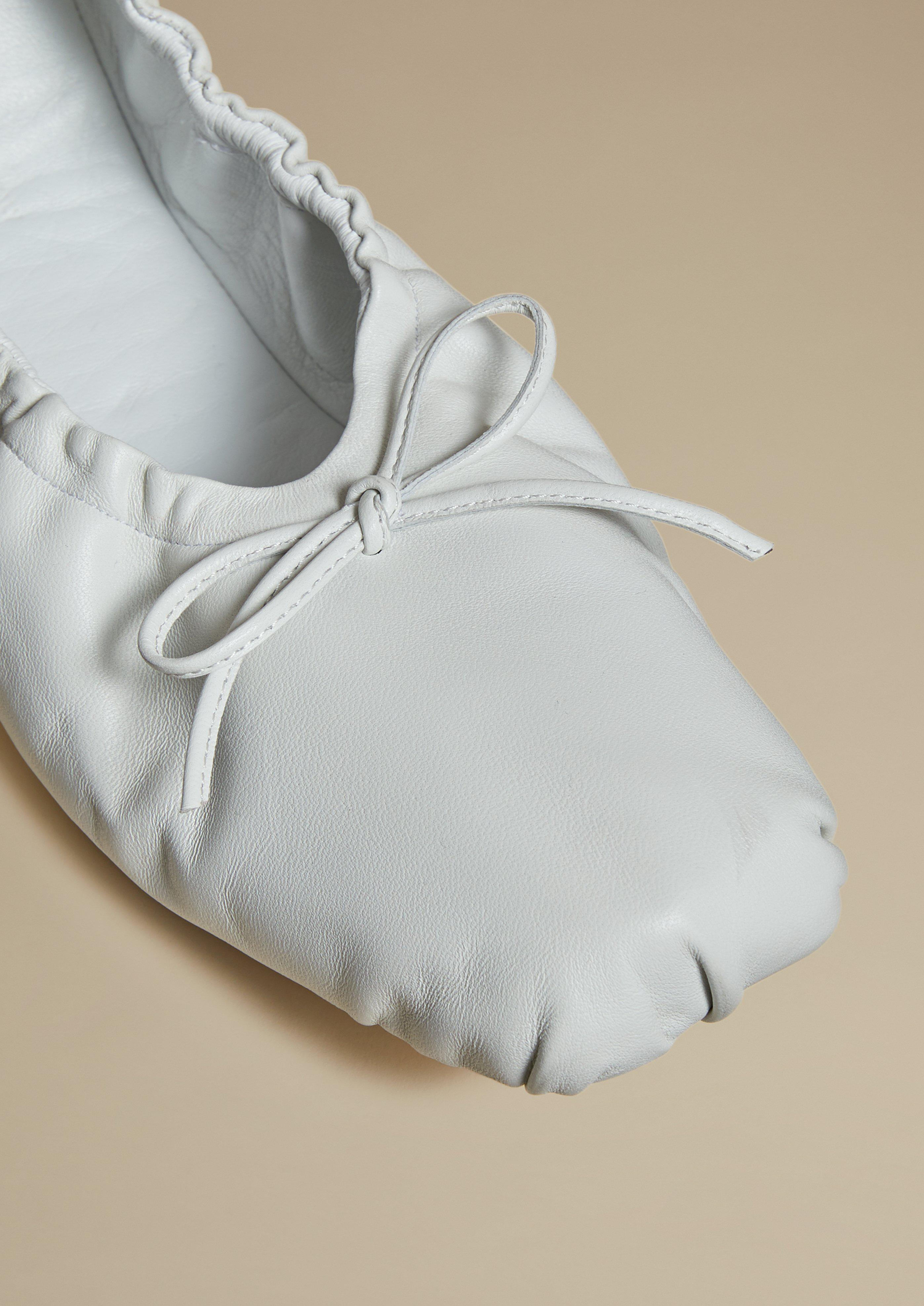 The Ashland Ballet Flat in White Leather 2