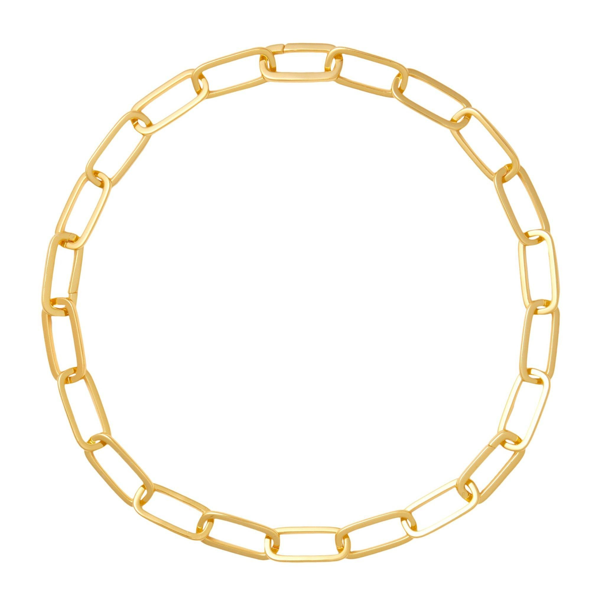 Grande Solid Sterling Paperclip Chain Necklace in Gold