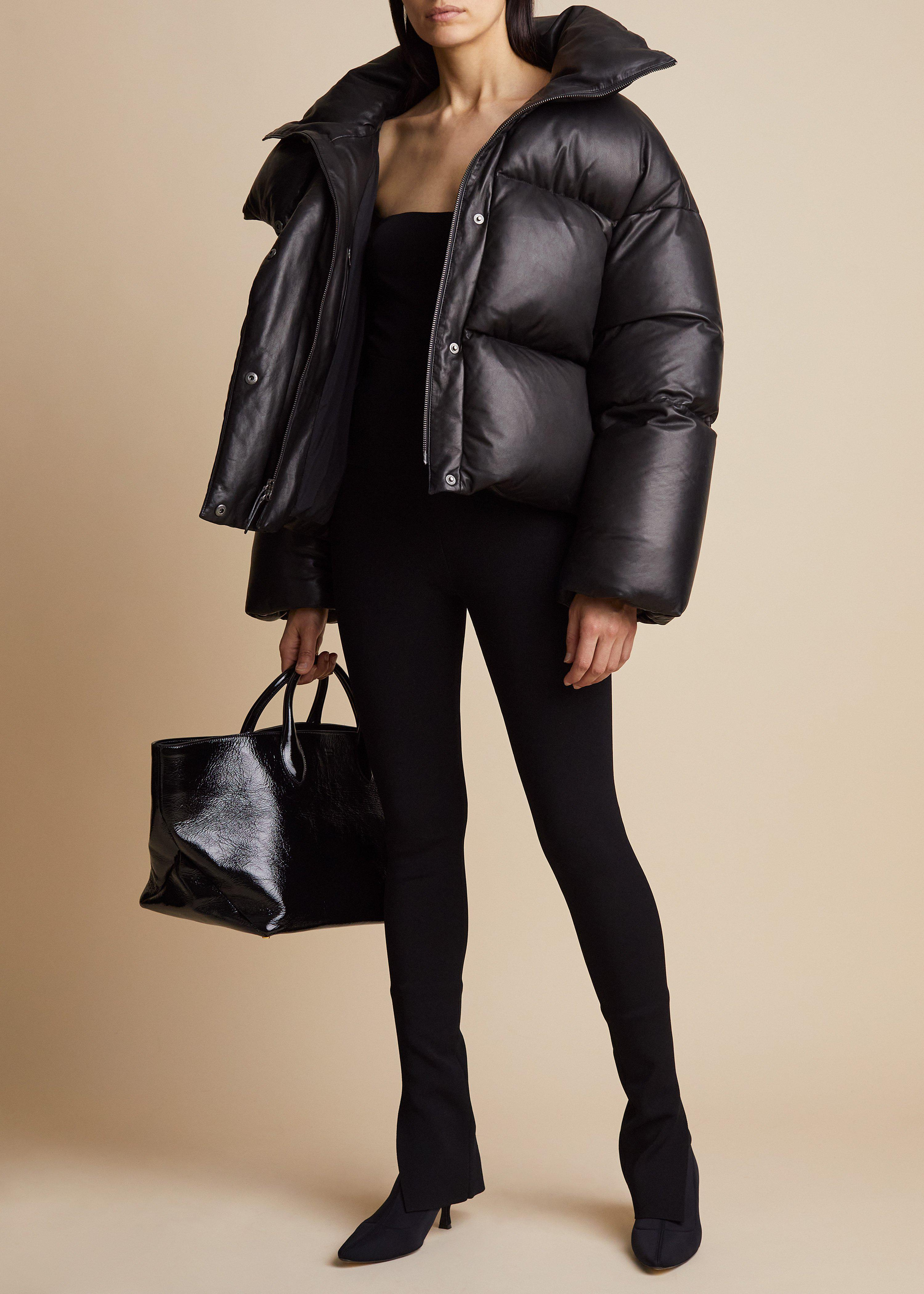 The Raphael Puffer Jacket in Black Leather