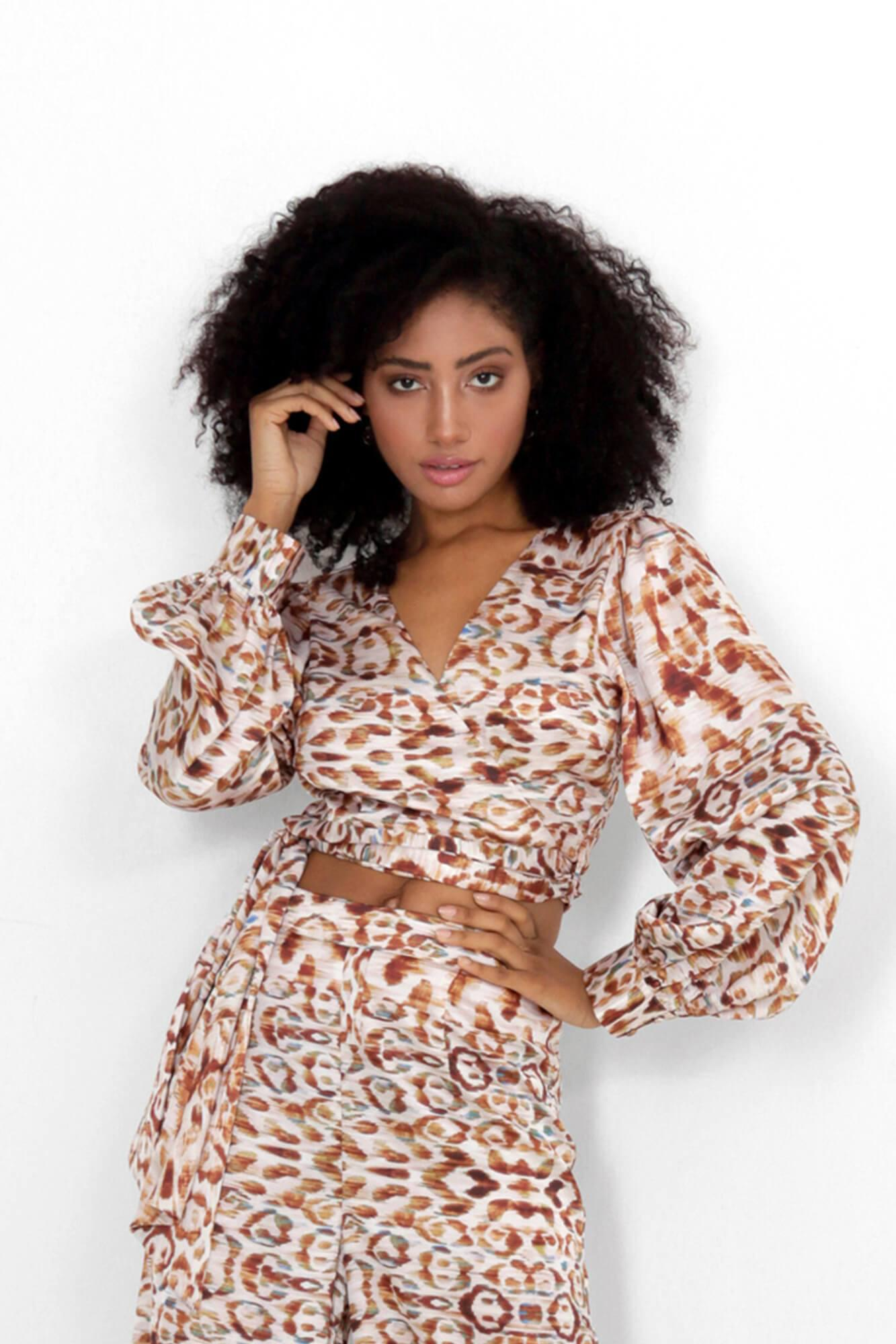 Snow Leopard Isa Wrap Top