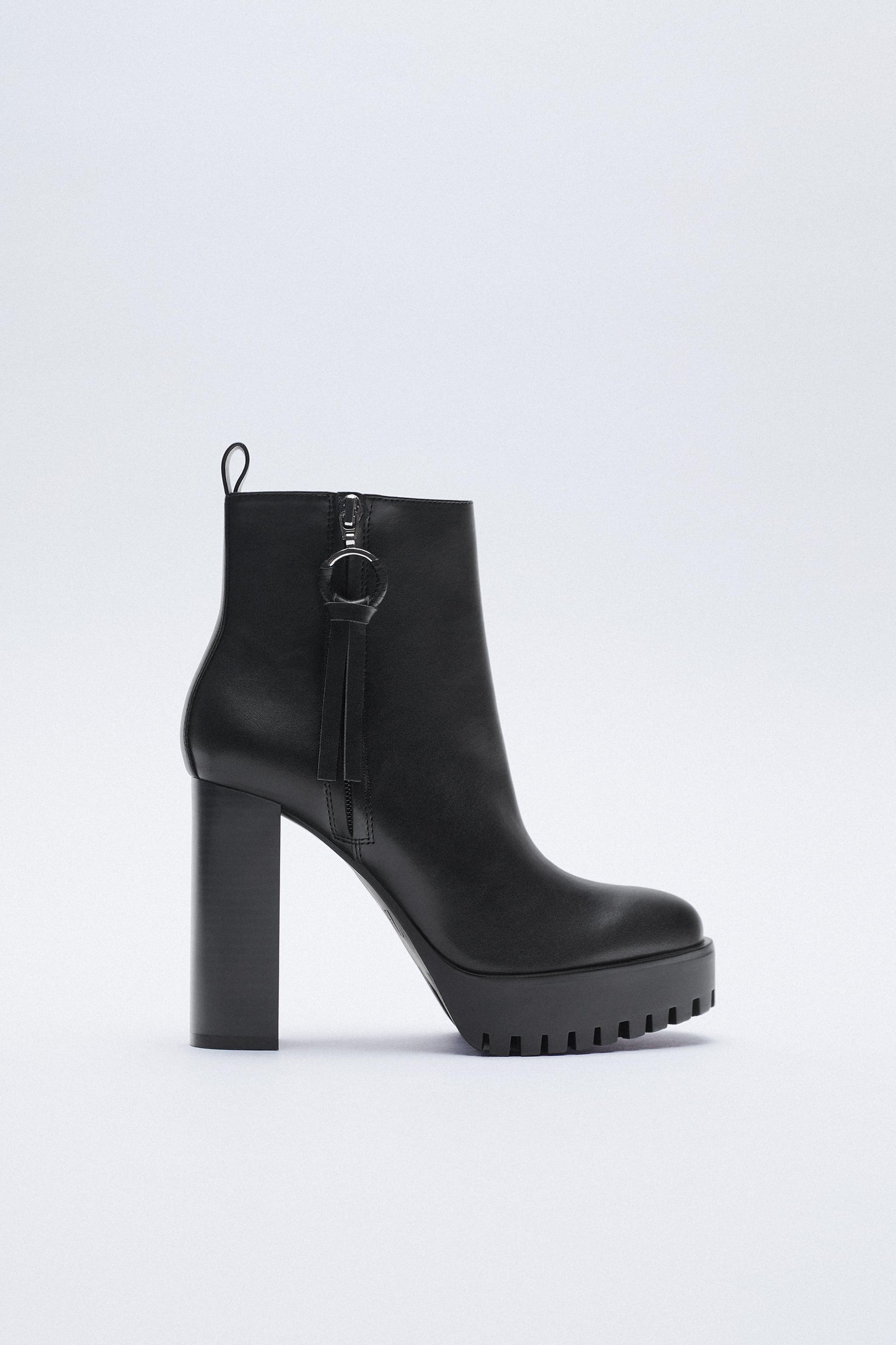 HIGH HEEL TREADED ANKLE BOOTS