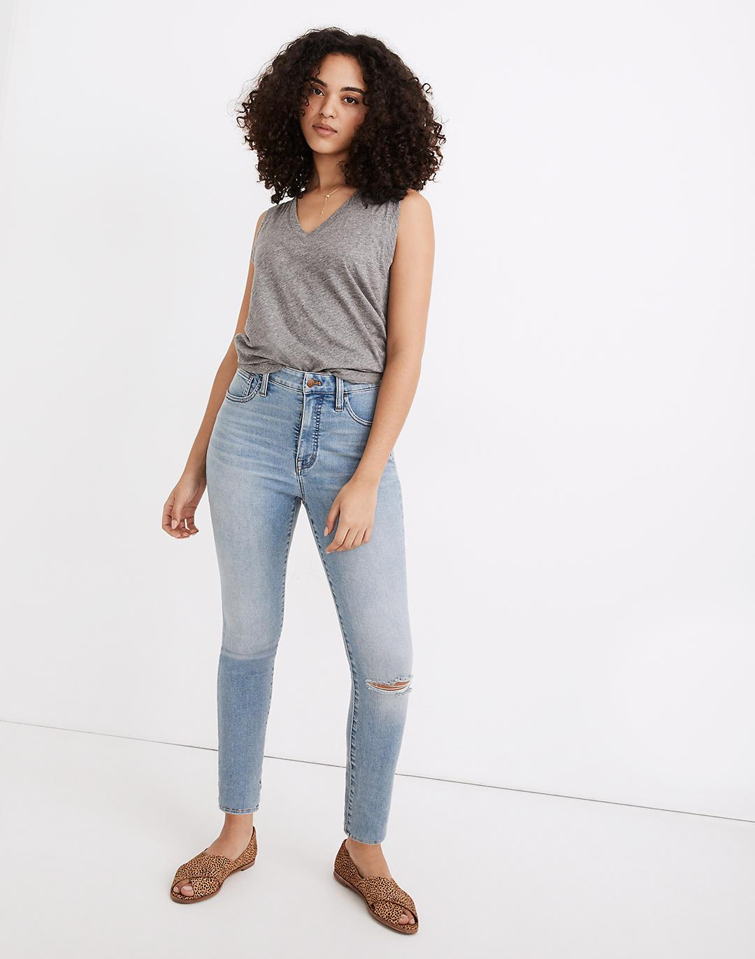 Tall Curvy Roadtripper Authentic Jeans in Benton Wash: Knee-Rip Edition