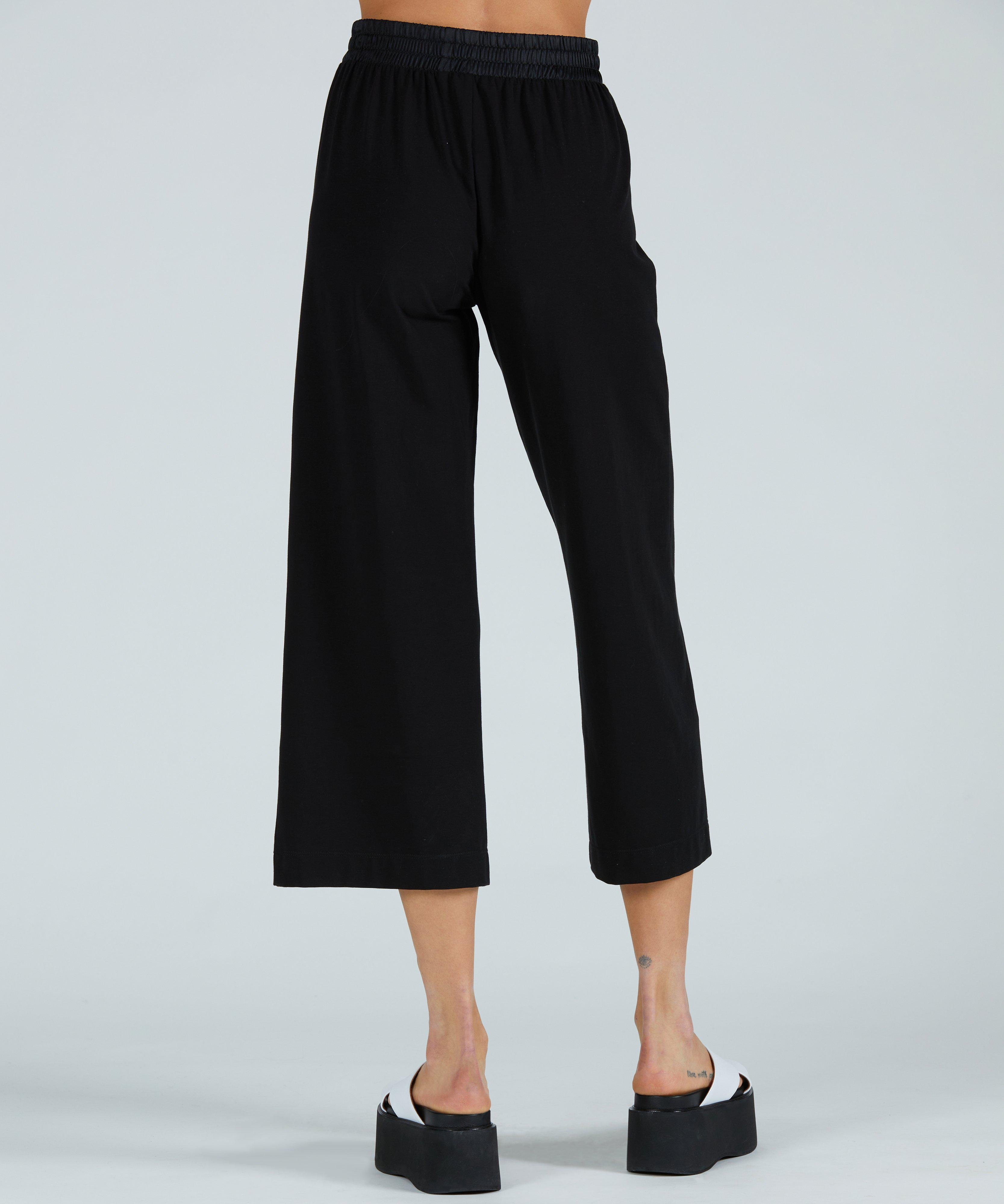 Pima Cotton Cropped Pull-On Pant - Black 2