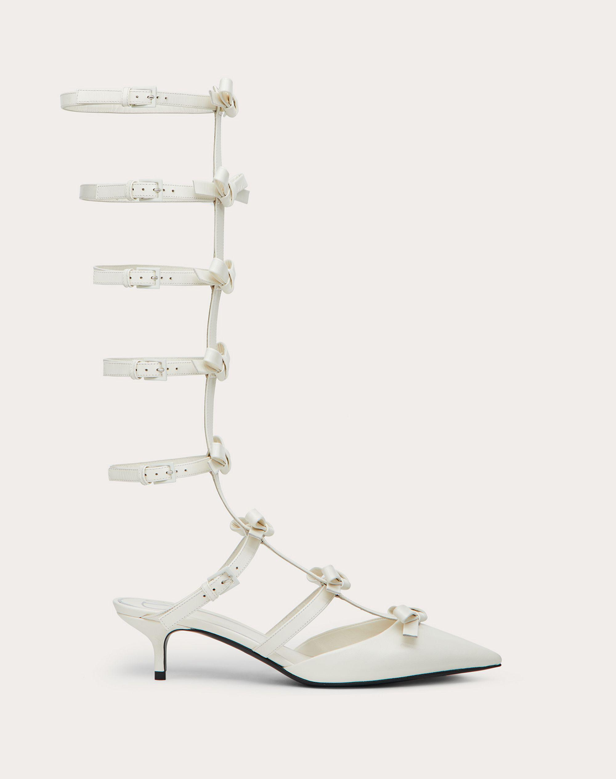 ANKLE STRAP PUMP WITH KIDSKIN FRENCH BOWS  40 MM