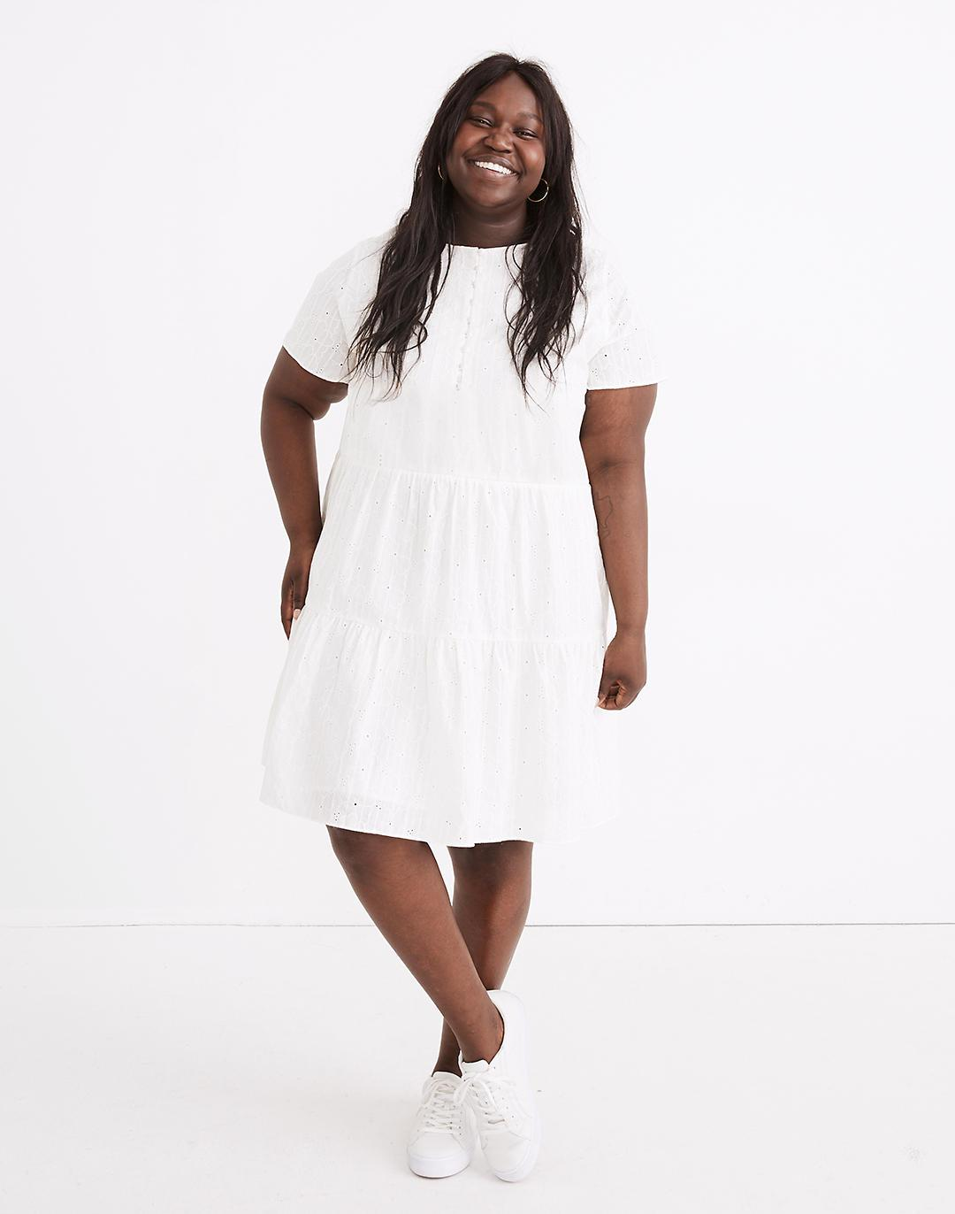 Plus Embroidered Eyelet Button-Front Tiered Mini Dress