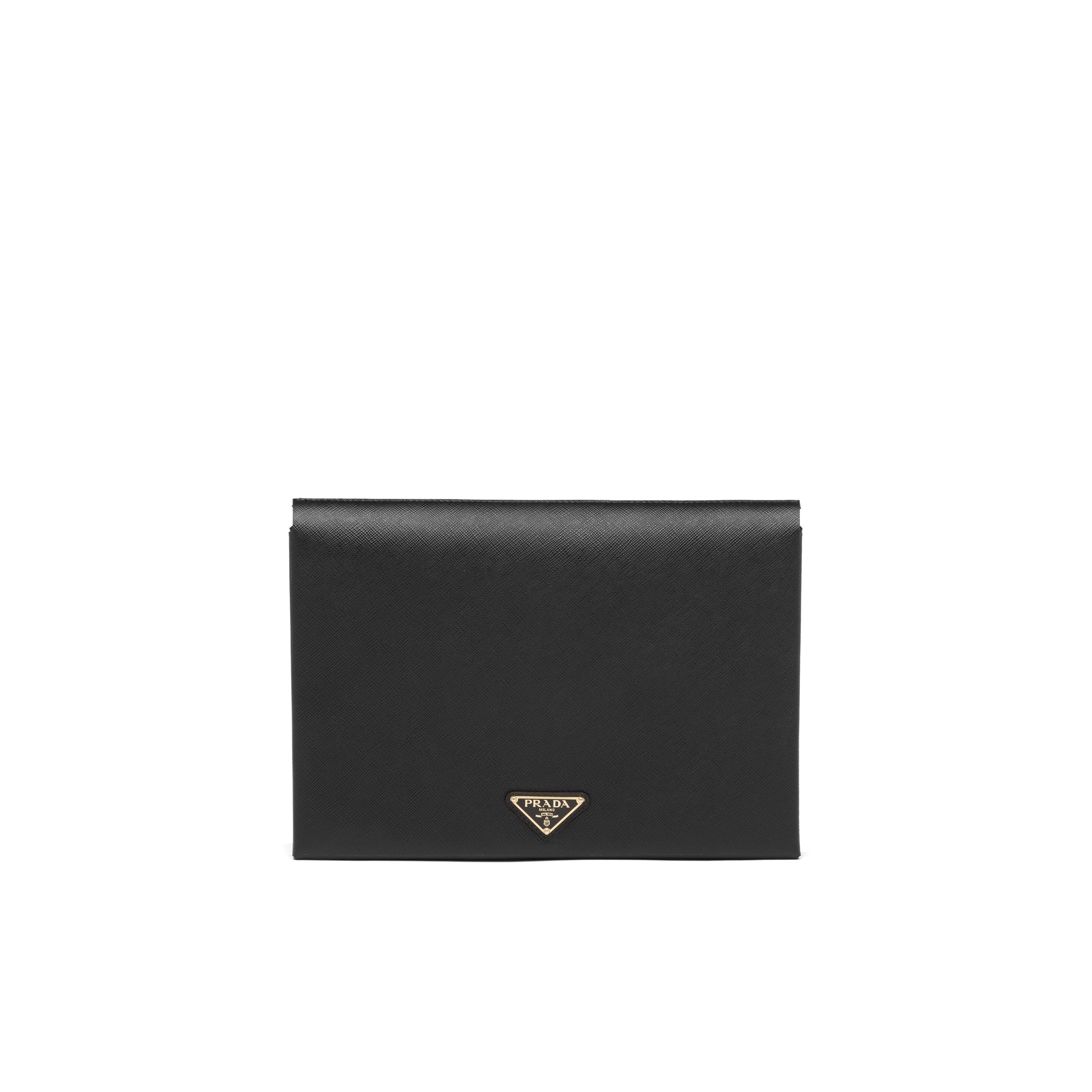 Large Saffiano Leather Document Holder Women Black/fiery Red