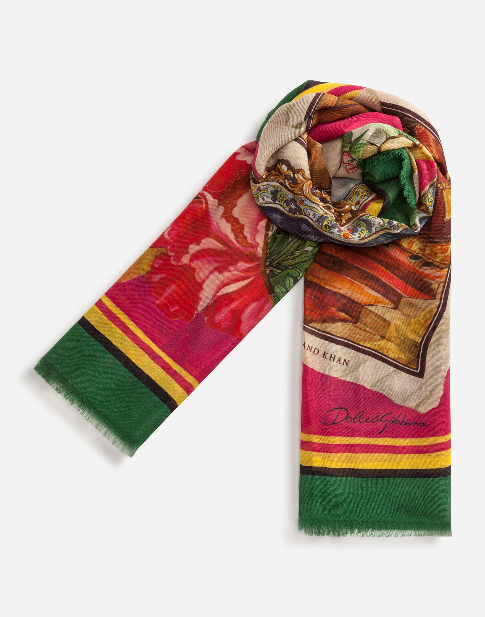 Scarf in modal and cashmere with Silk road print: 140 x 140cm- 55 x 55 inches