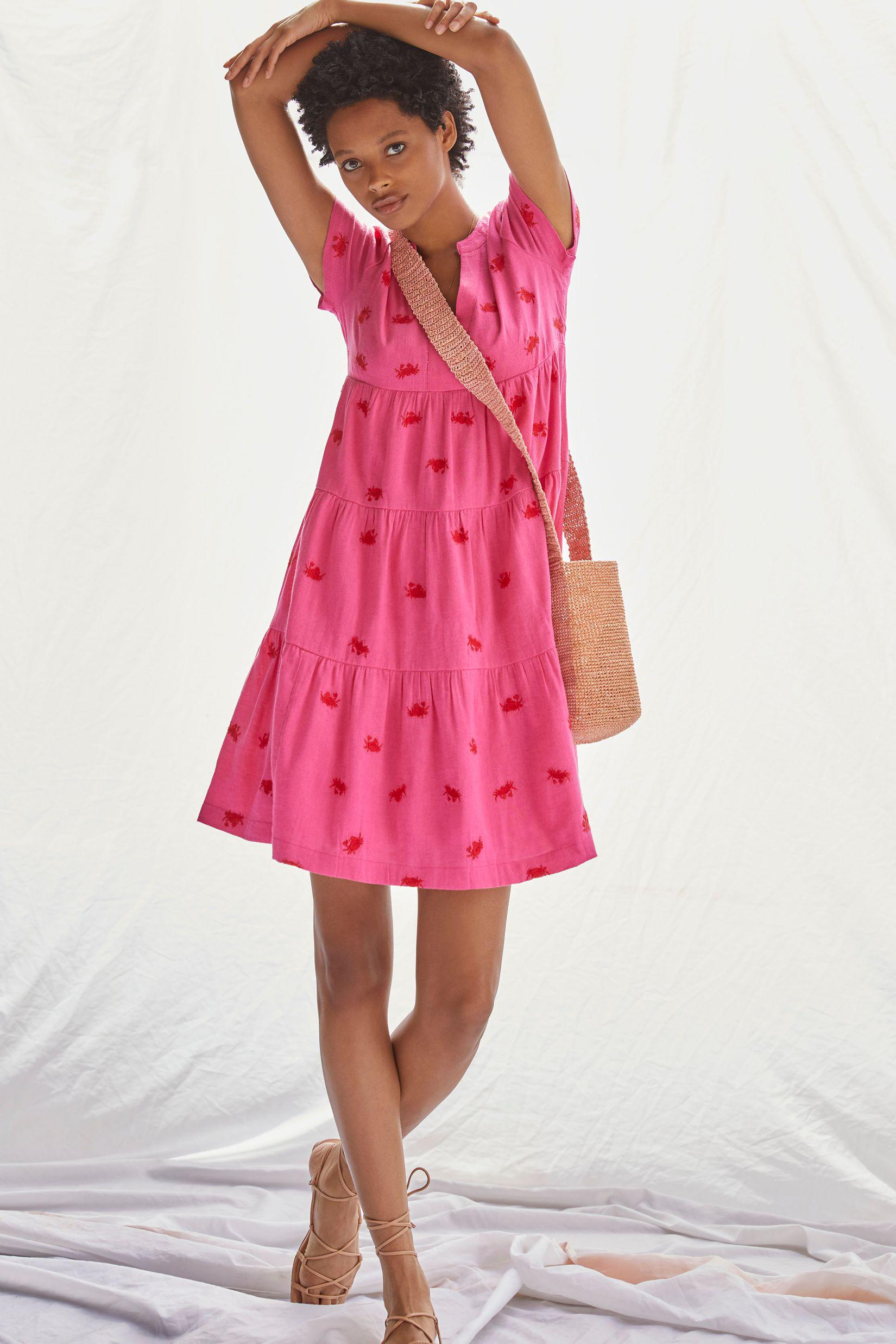 Maeve Embroidered Tiered Tunic Dress