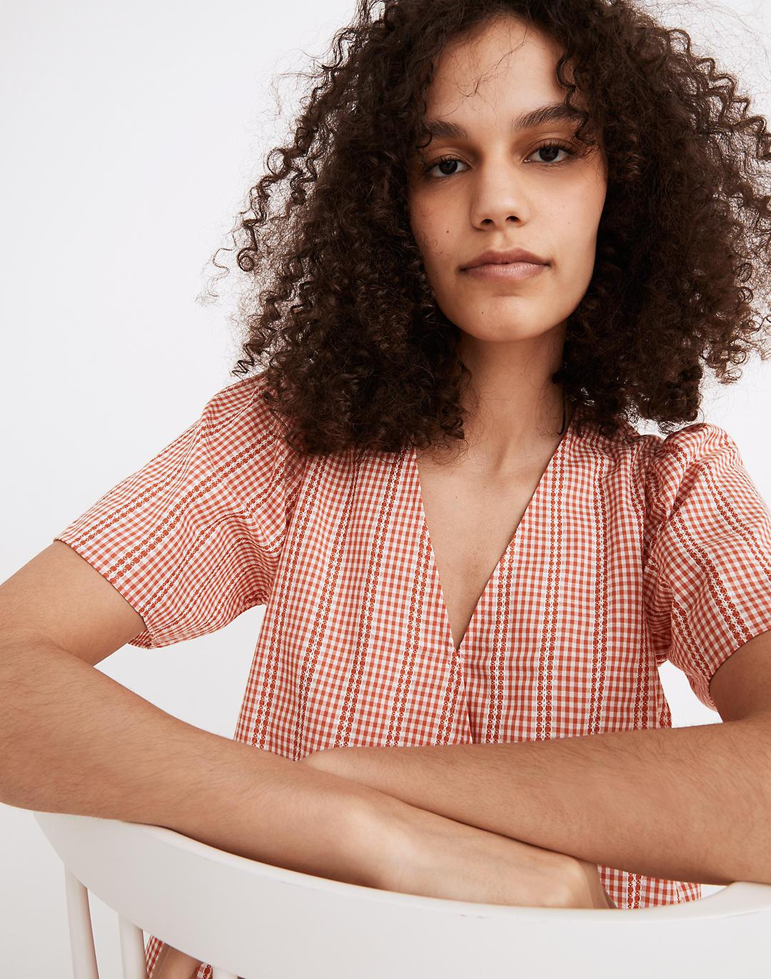Crossover Peplum Top in Textured Gingham Check 1