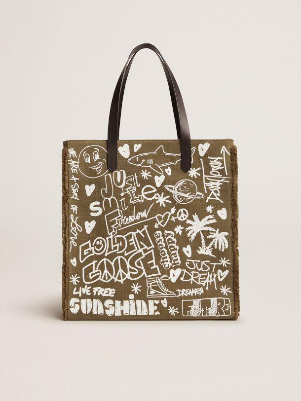 North-South California Bag in military green canvas with graffiti