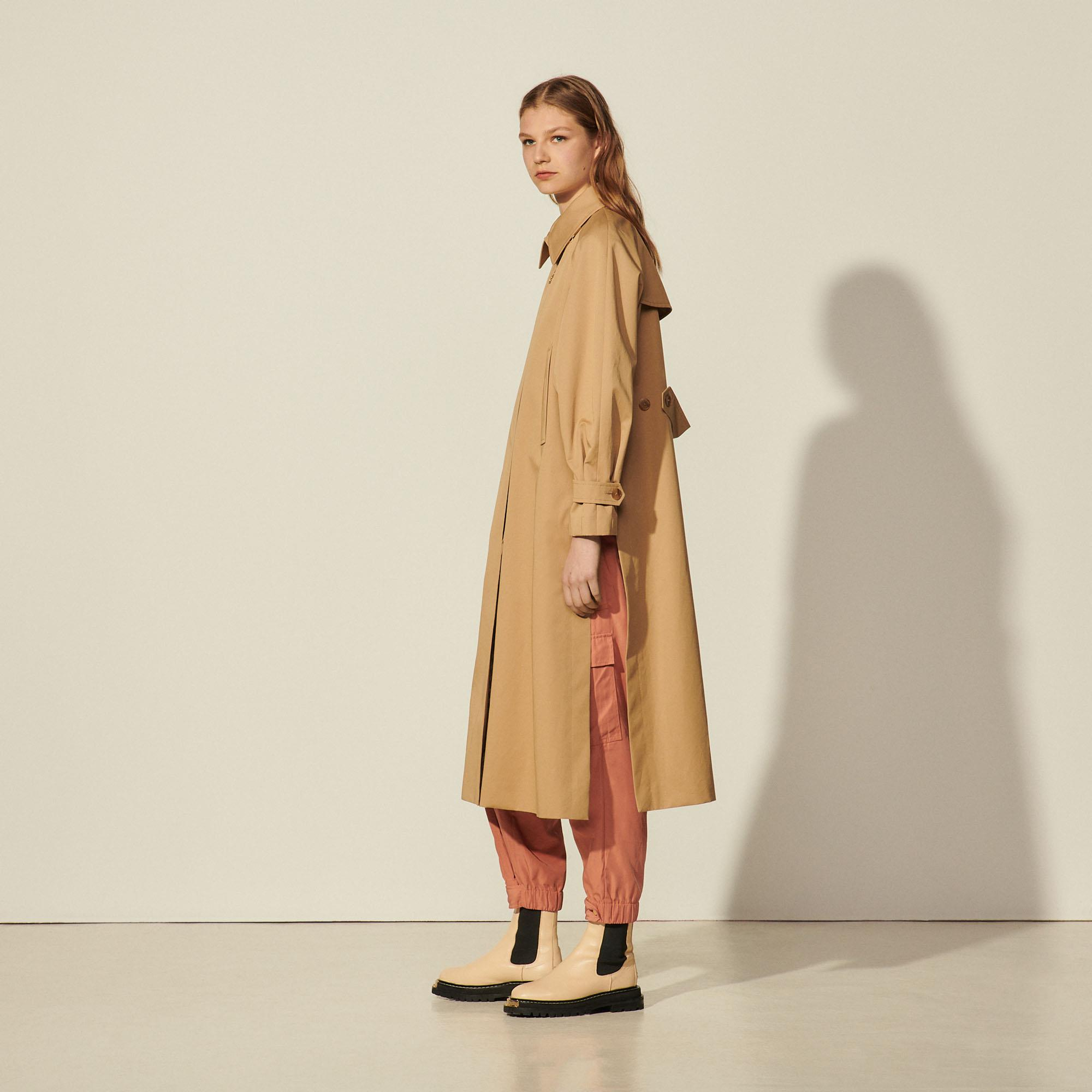 Cotton trench coat with detachable chain 2
