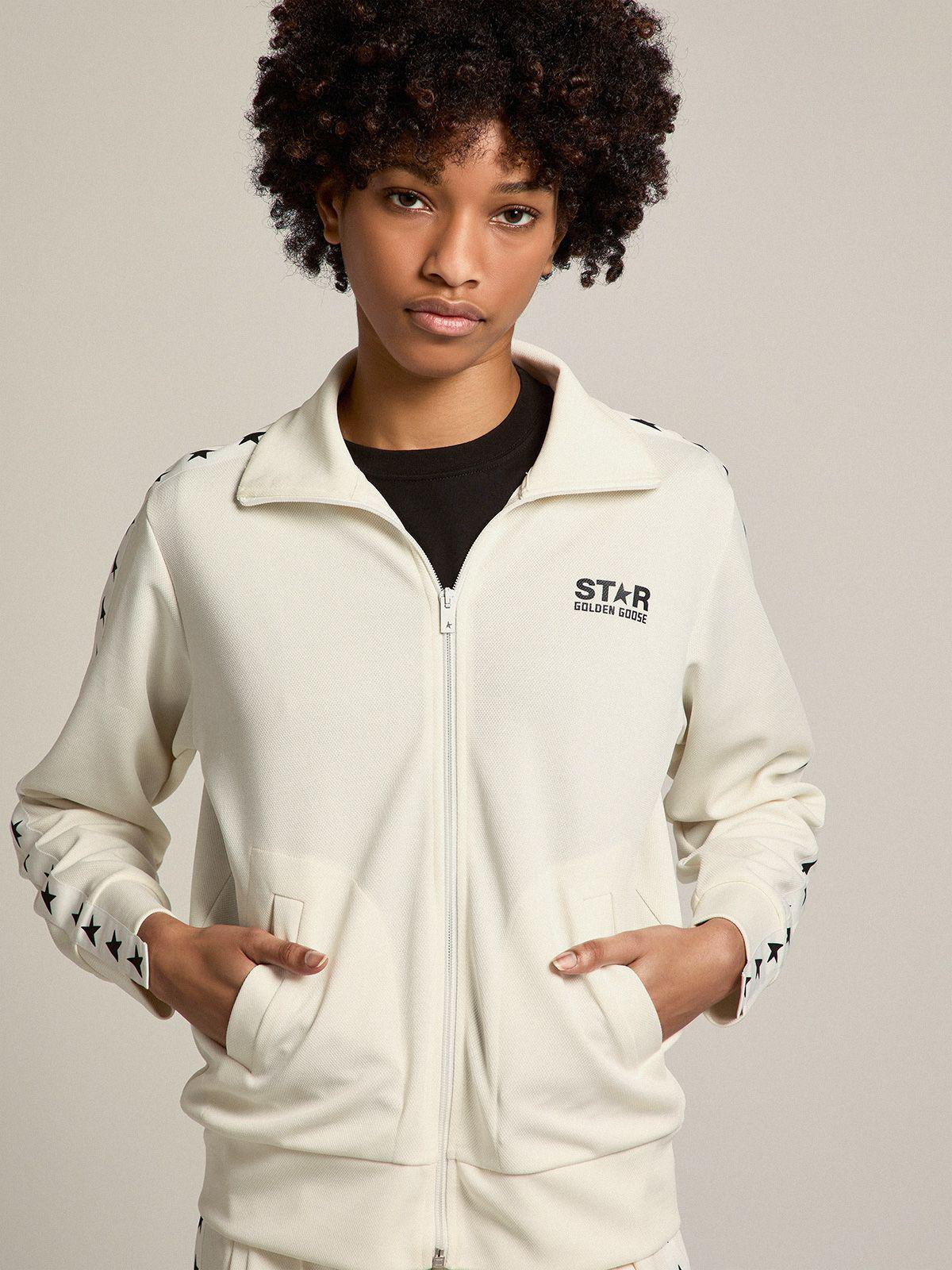 Papyrus white Denise Star Collection zipped sweatshirt with contrasting black stars