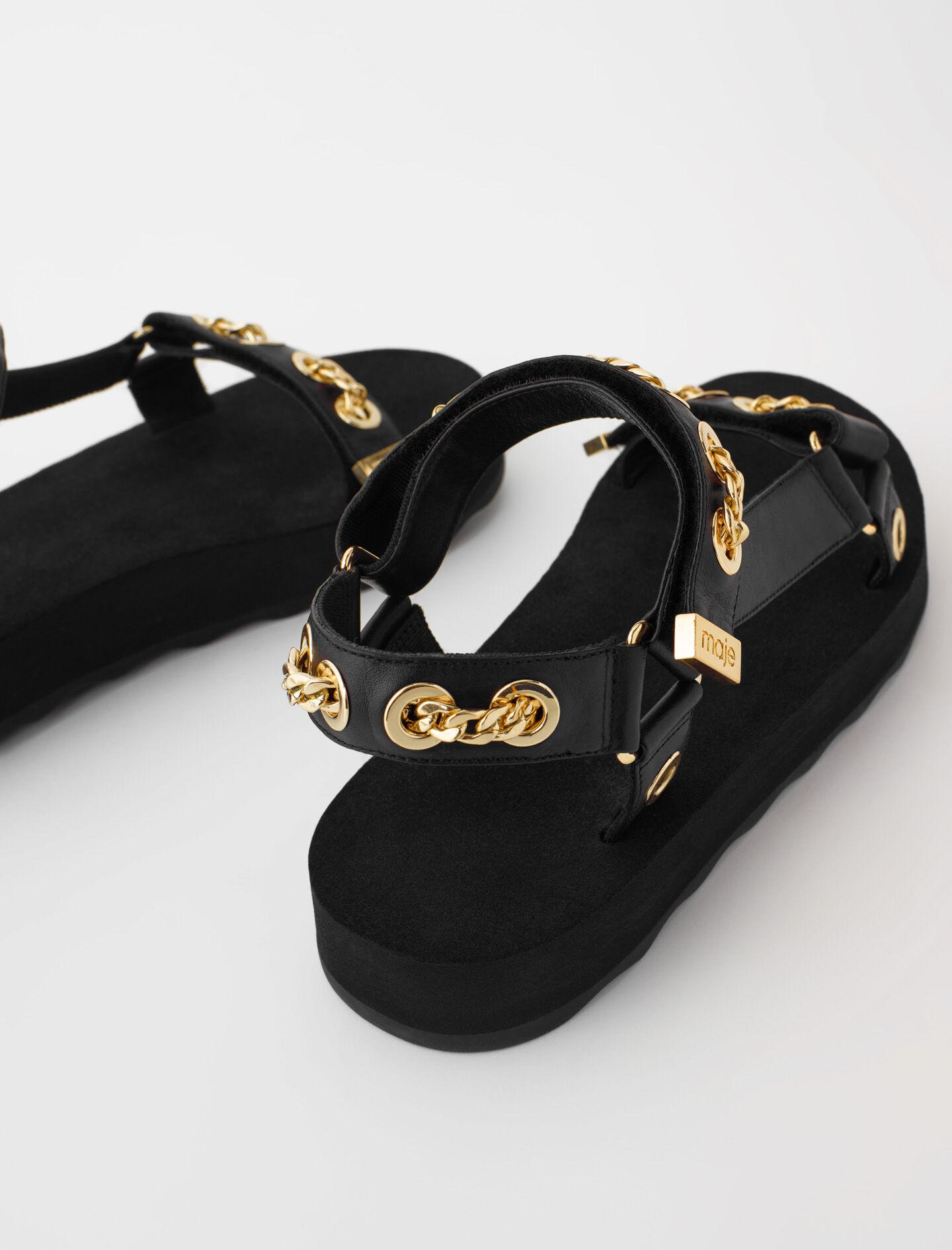 LEATHER SANDALS WITH EYELETS AND CHAIN 4