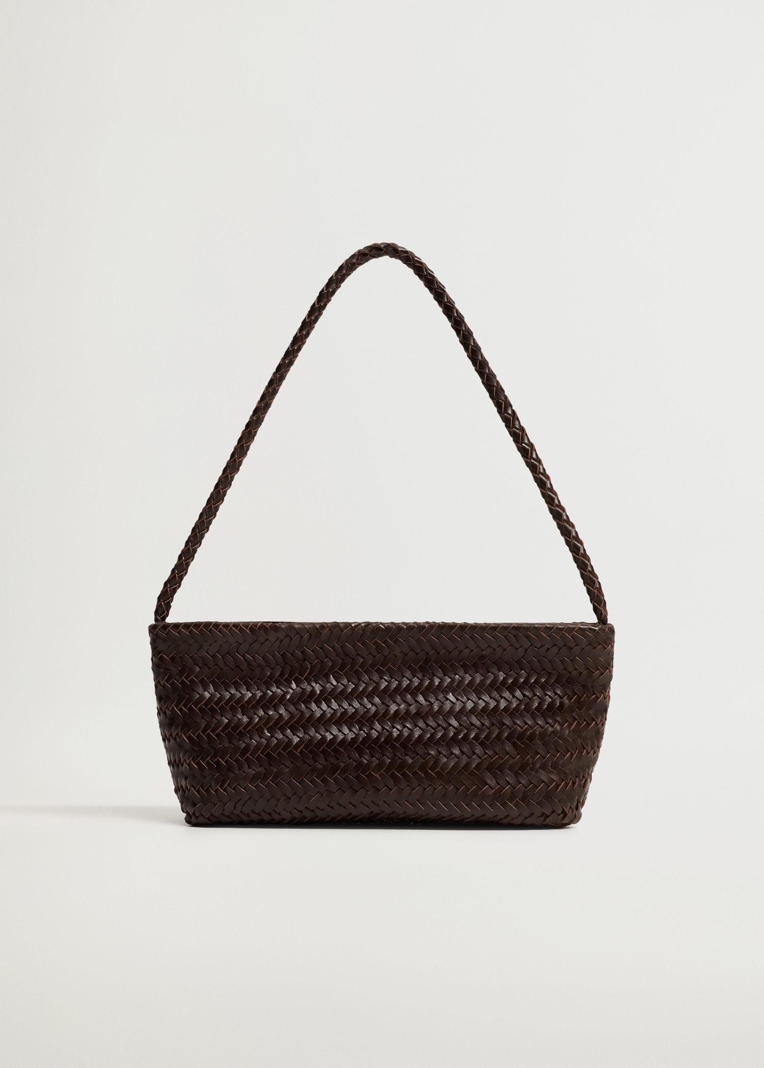 Braided leather baguette bag