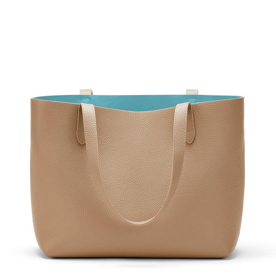 Women's Small Structured Leather Tote Bag in Cappuccino/Blue | Pebbled Leather by Cuyana