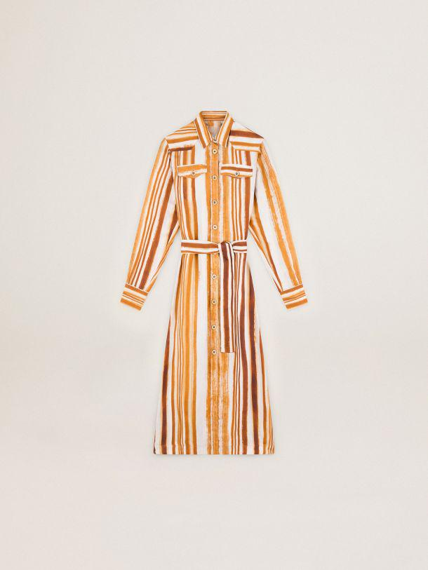 Journey Collection Dana shirt dress with watercolor-effect vertical stripe print 3