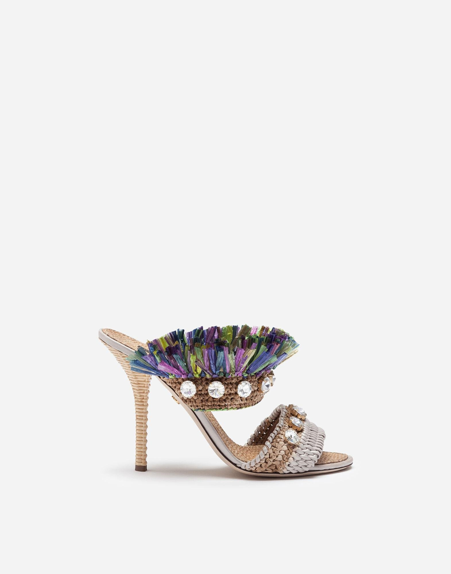Mules in straw with bejeweled embroidery