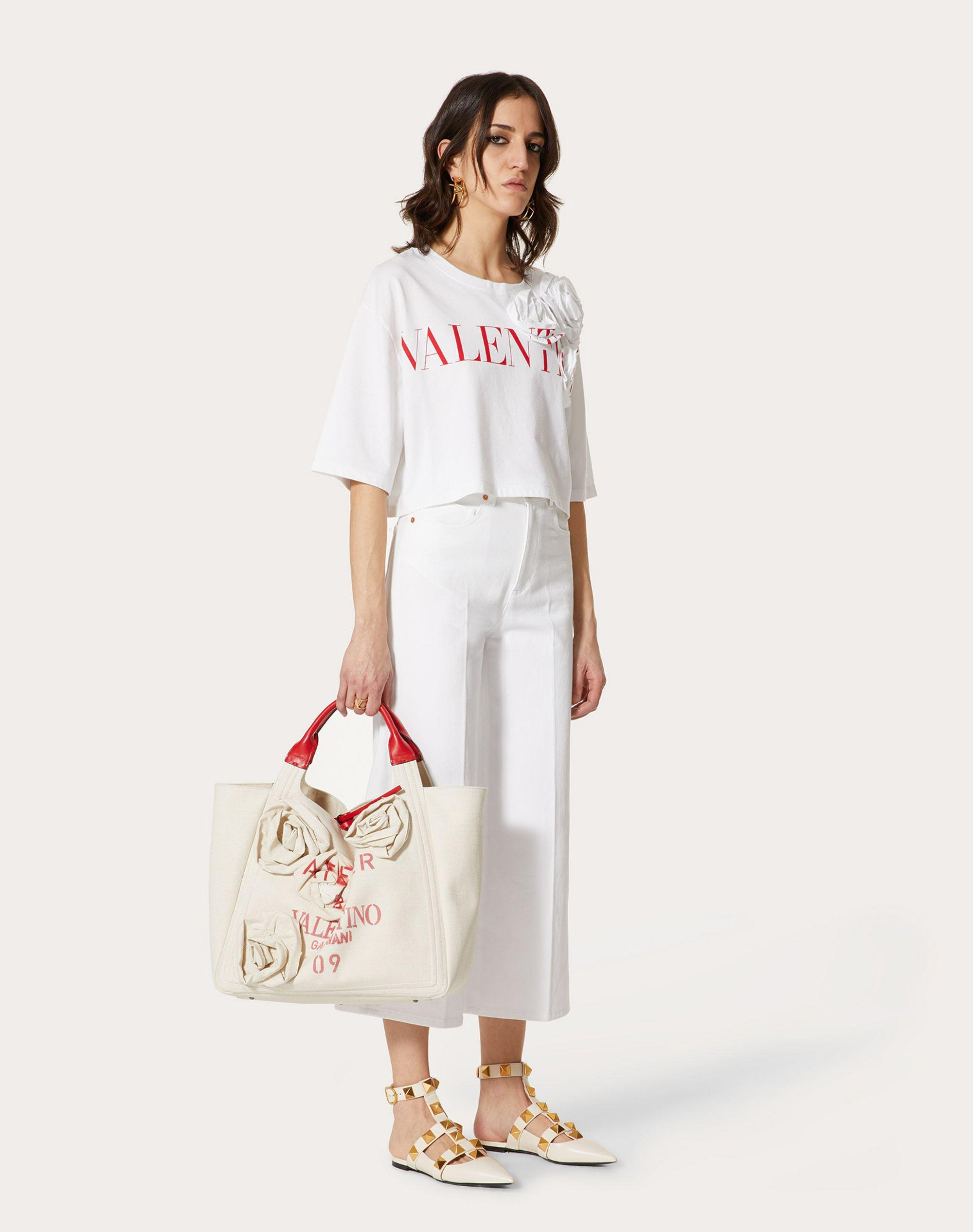 VALENTINO ROSE BLOSSOM T-SHIRT IN JERSEY