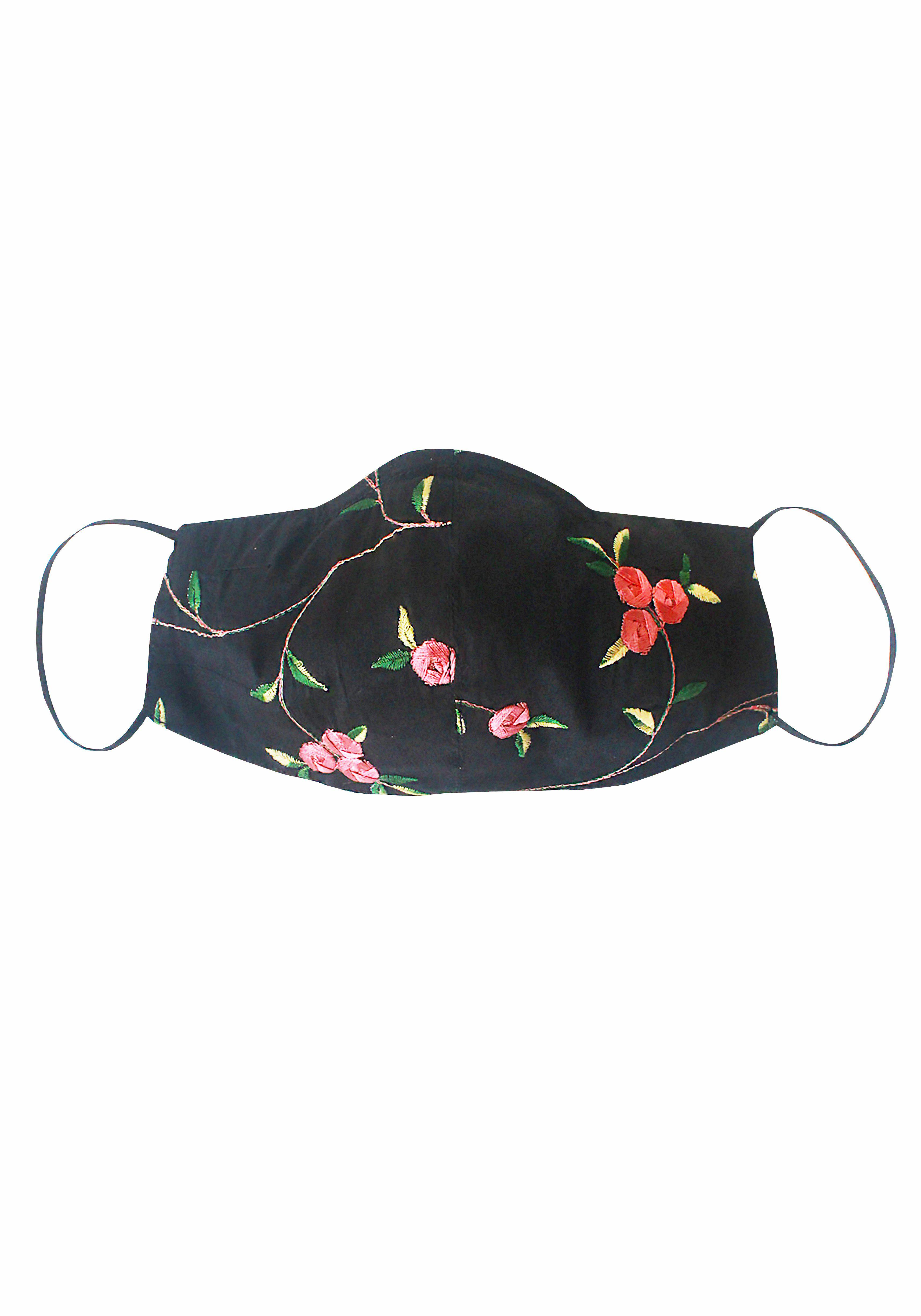 Black Floral Embroidered Mask with Silk Lining