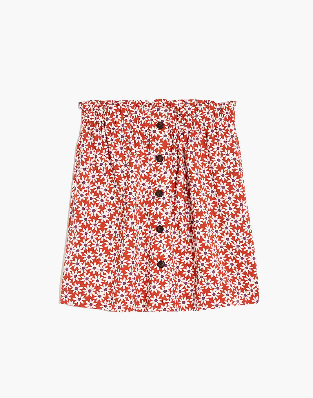 Paperbag Button-Front Mini Skirt in Falling Daisies 3