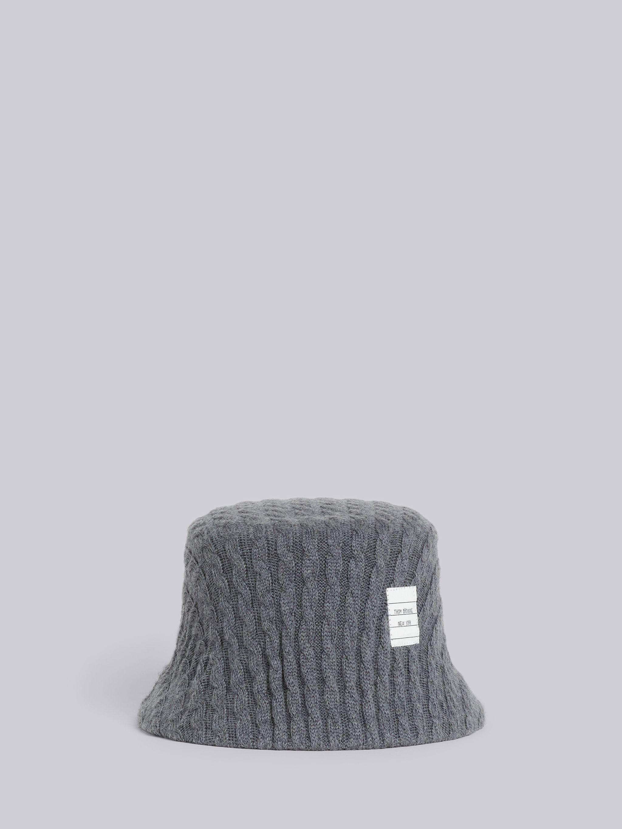 Medium Grey Baby Cable Knit Seamless Bucket Hat