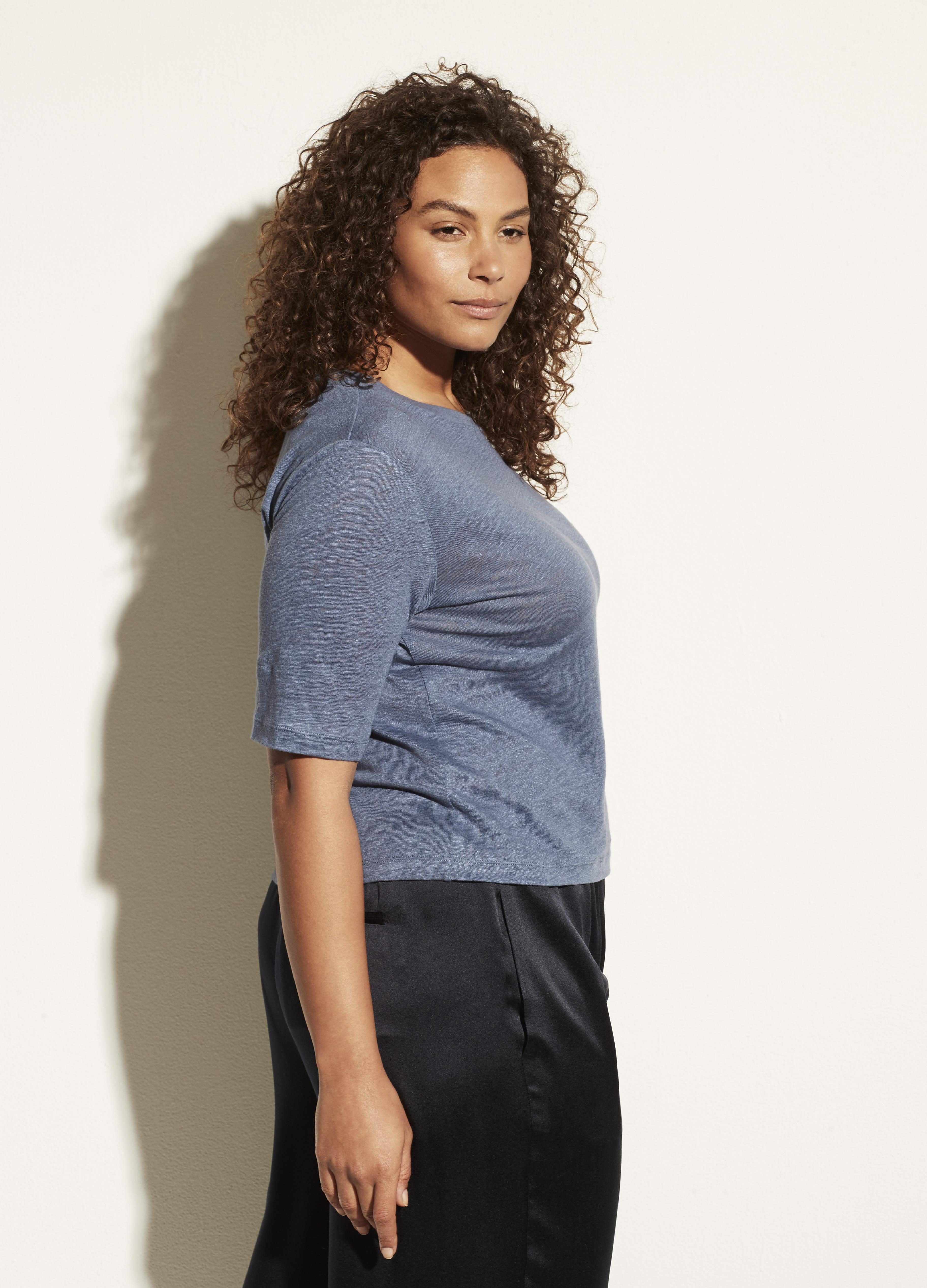 Linen Relaxed Elbow Sleeve Crew 2