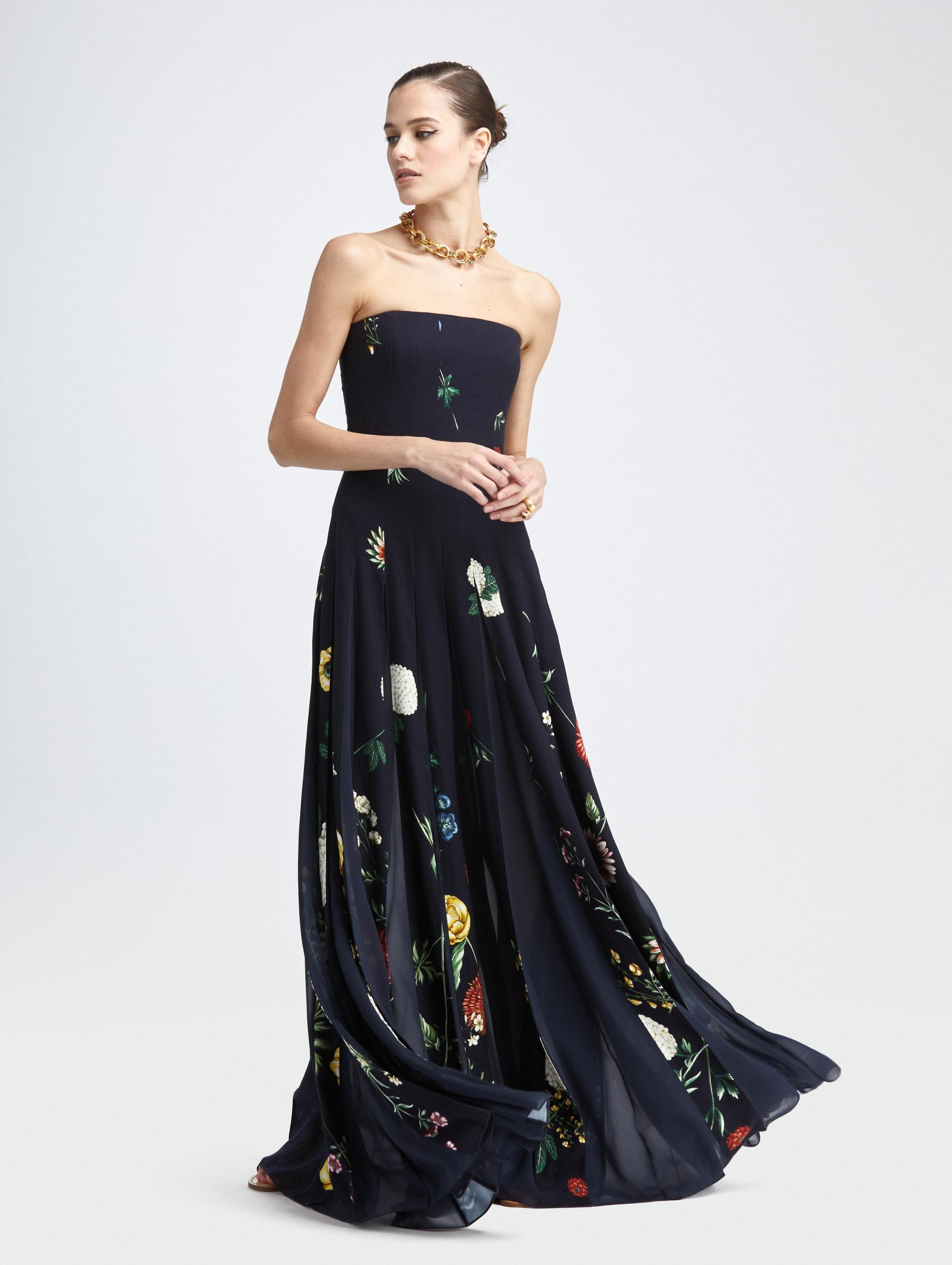TOSSED BOTANICAL STRAPLESS GOWN